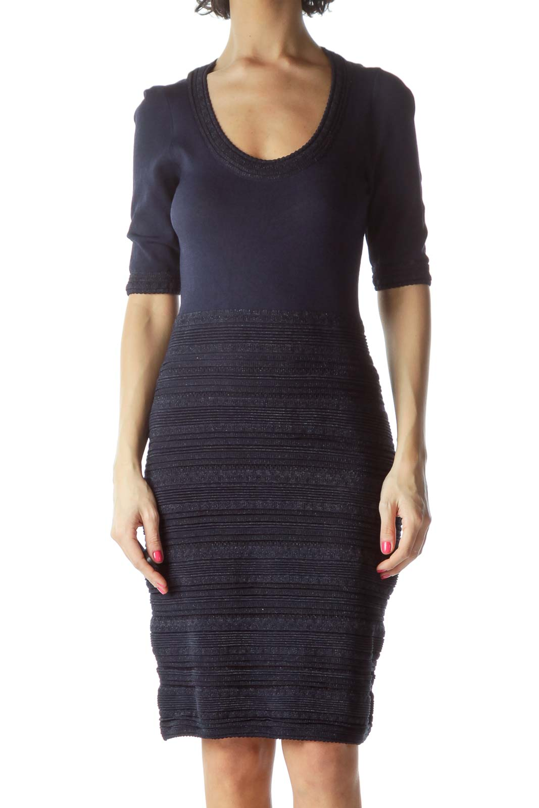 Navy Ribbed Knitted Dress Front
