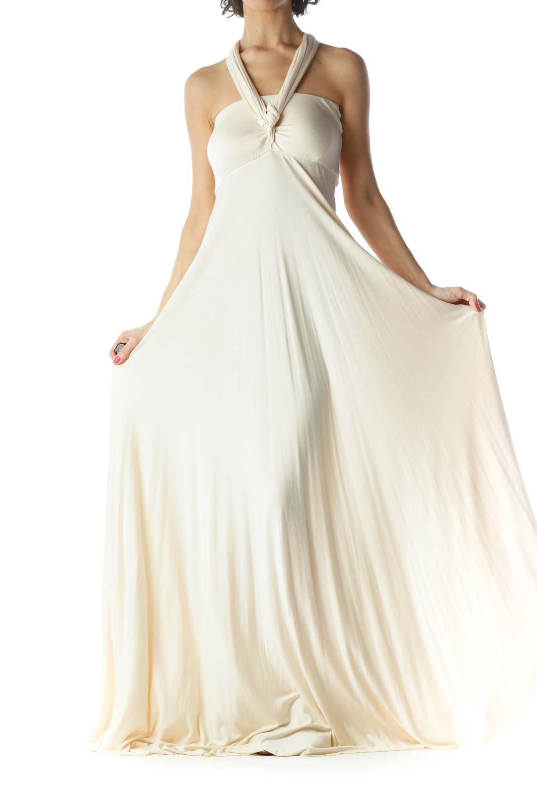 Beige Jersey-Knit Maxi Dress Front