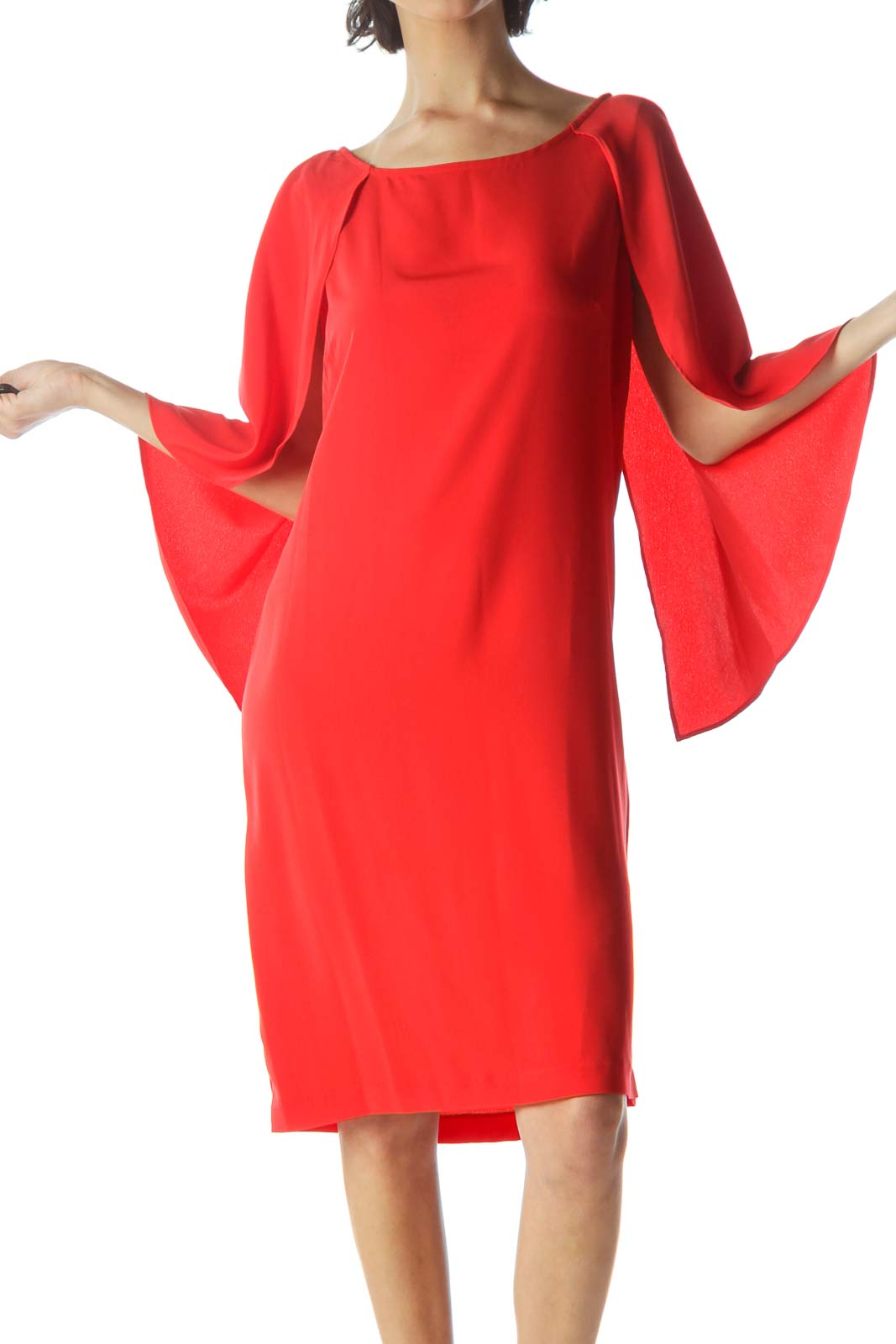 Red Shift Crepe Sleeve Dress Front
