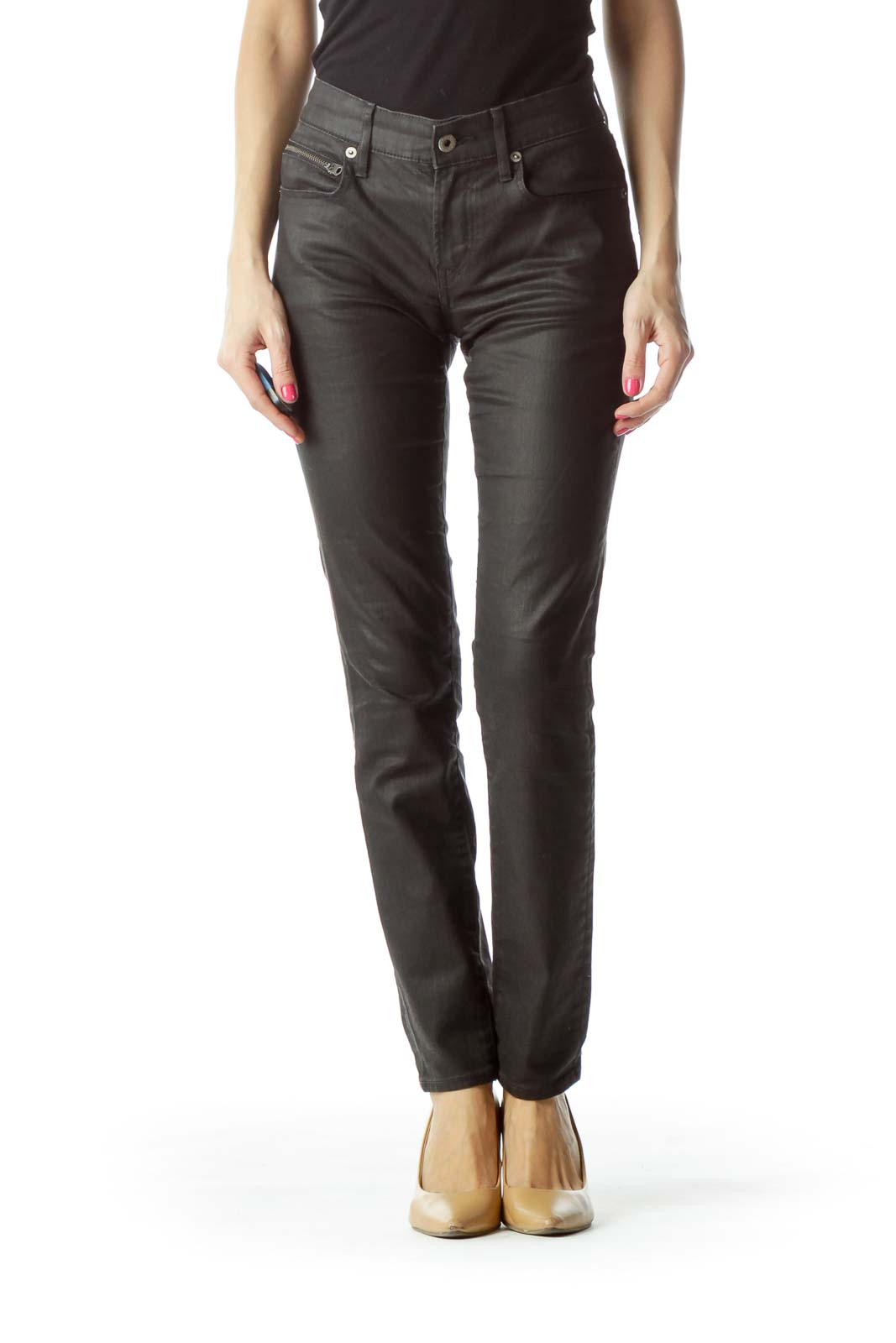 Black Denim Skinny Jeans with Zipper Pockets Front