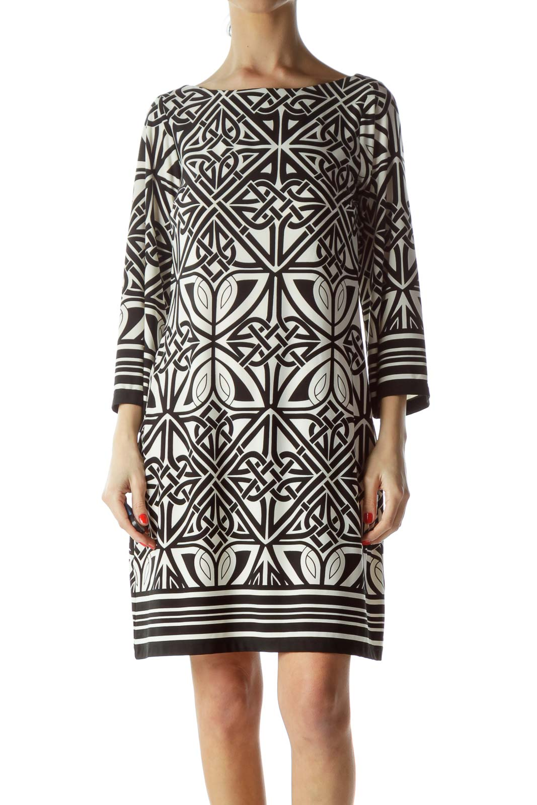 Black Cream Printed Boat Neck Dress Front