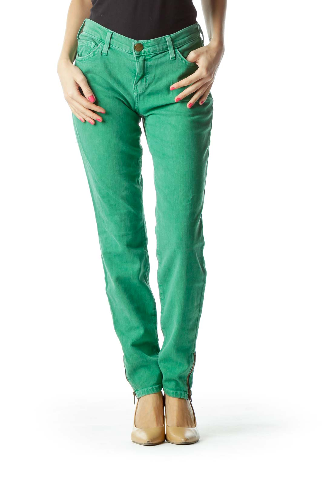 Green Skinny Zipper Ankle Jeans Front