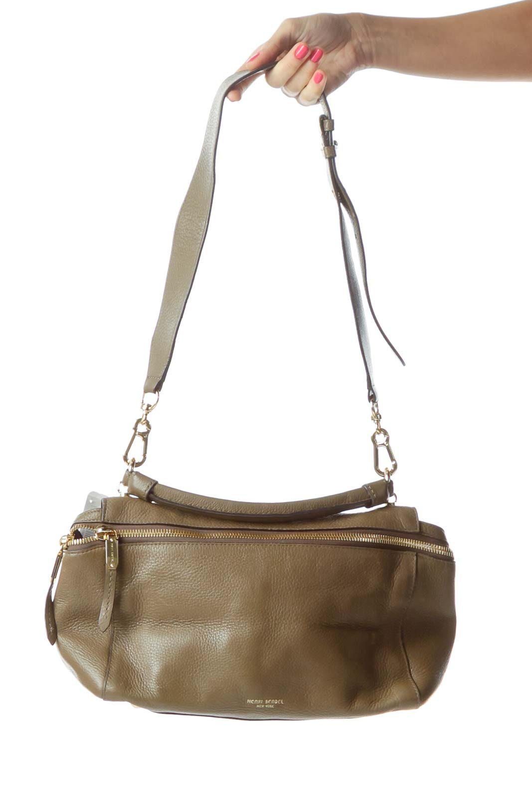 Brown Leather Satchel with Handle Front