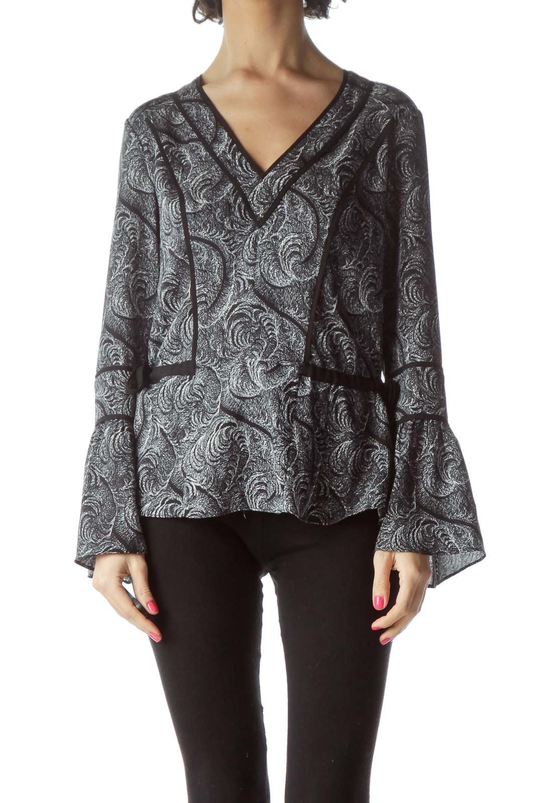 Black Printed Bell-Sleeve Blouse Front