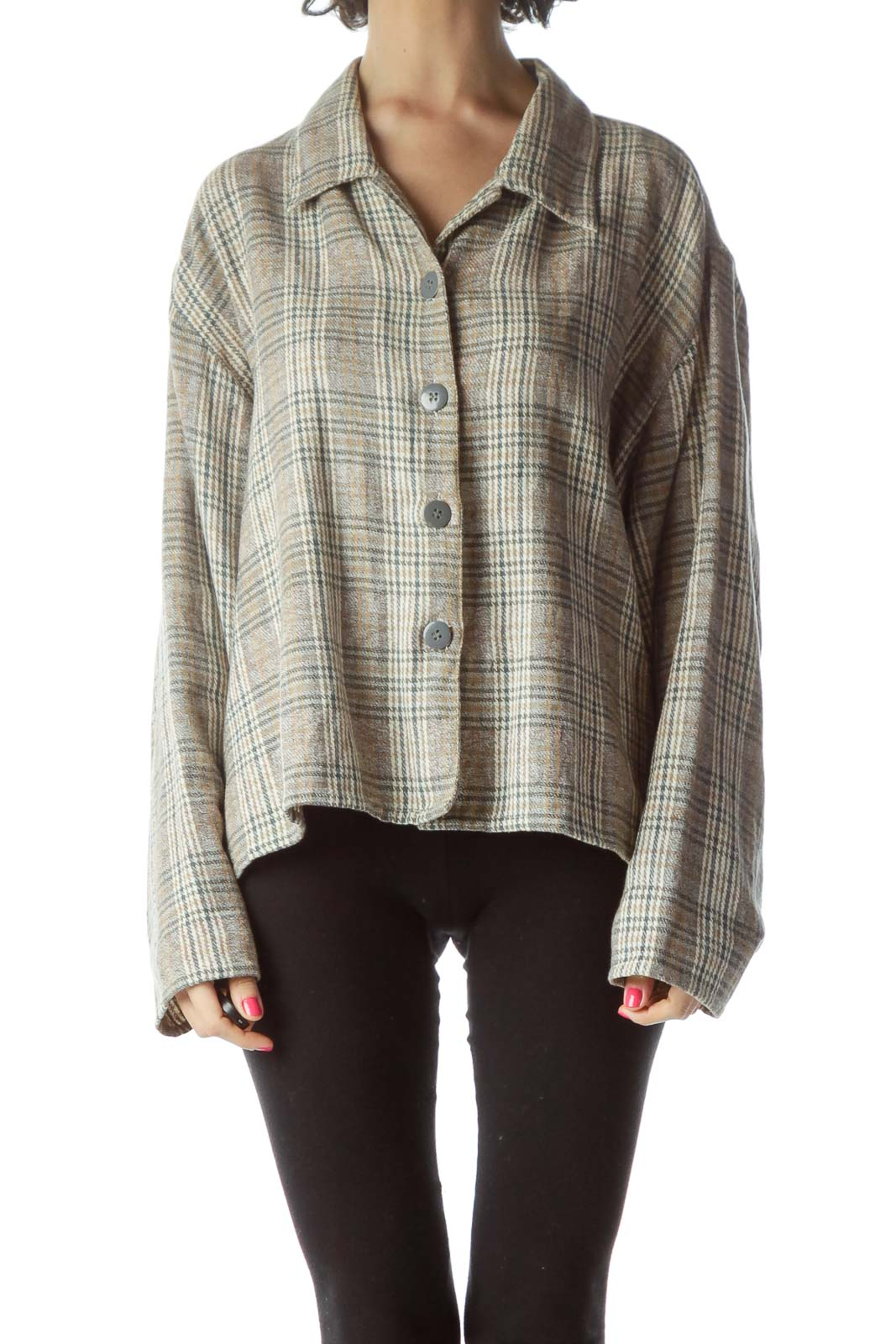 Brown Printed Cotton Shirt Front