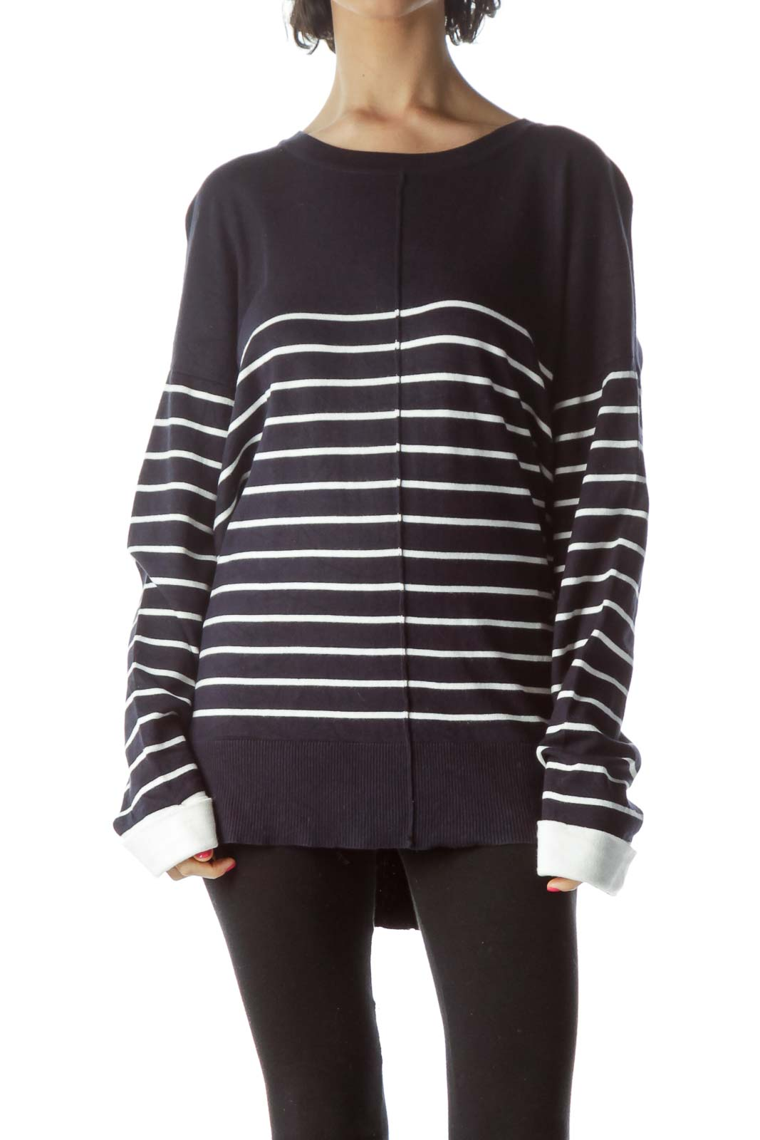 Navy White Striped Sweater Front