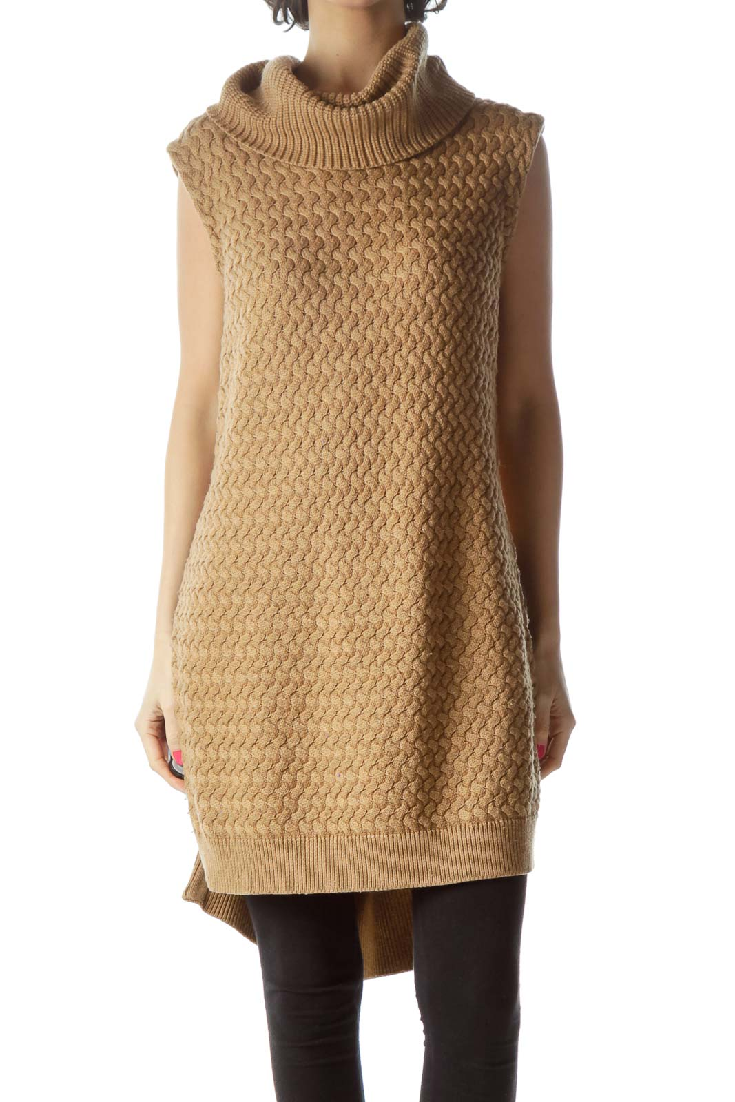 Brown Sleeveless Turtleneck Knit with Zipper Detail Front