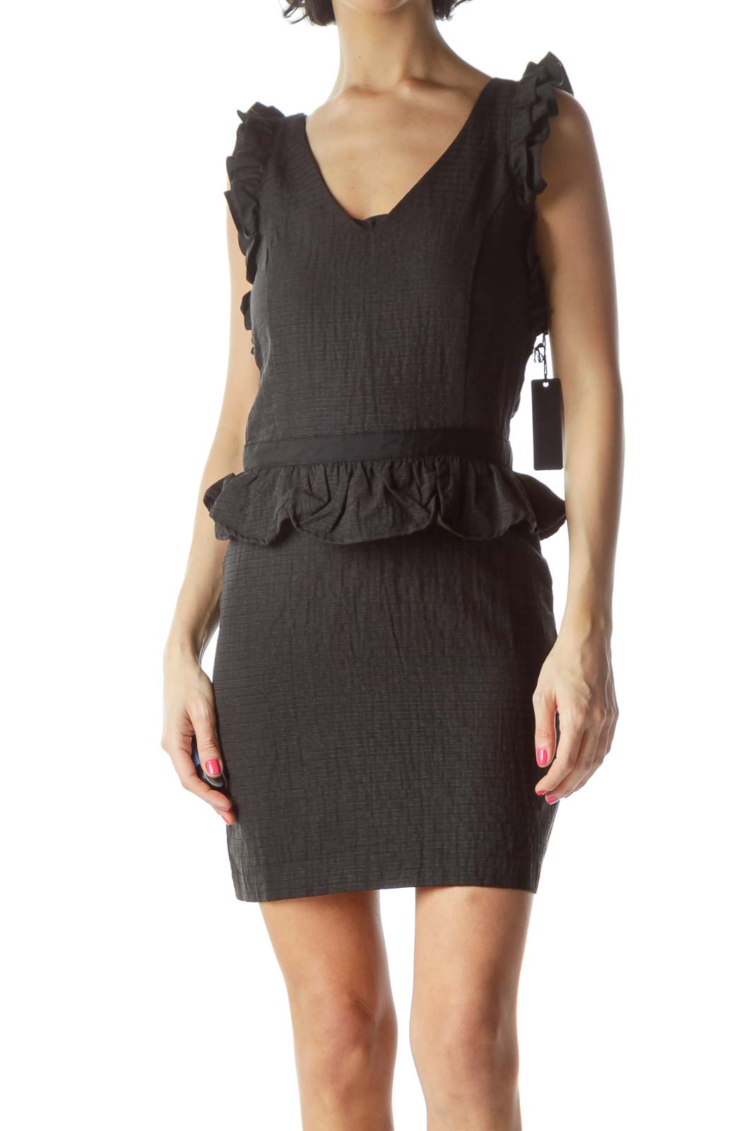 Black Ruffled Peplum Cocktail Dress Front