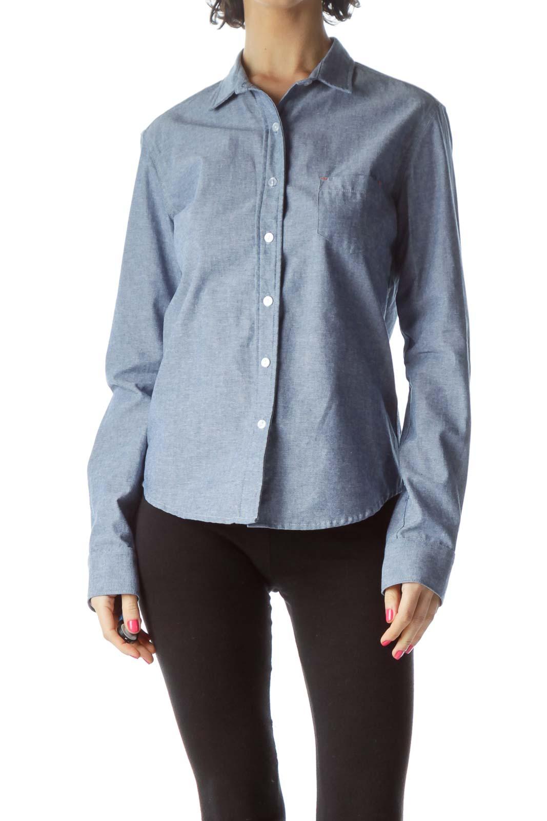 Blue Cotton Shirt Front