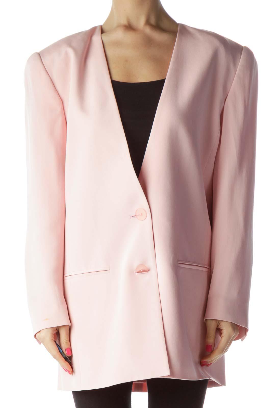 Pink Padded Shoulder Silk Blazer Front