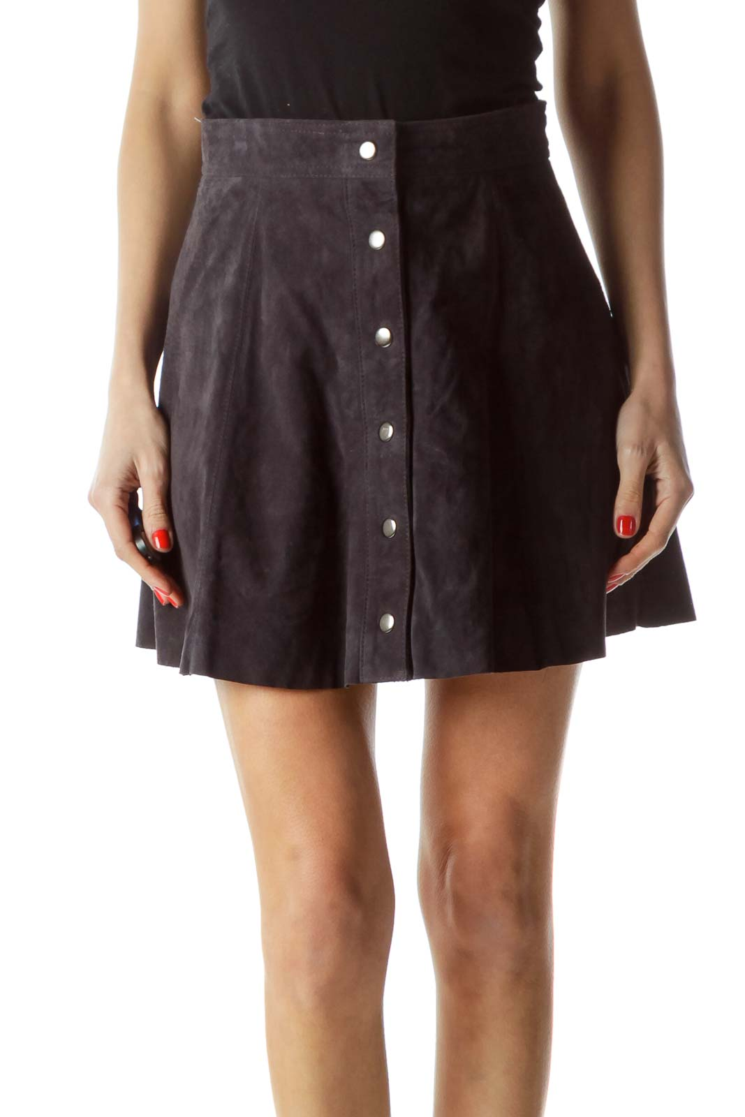 Dark Gray Front Snap Buttons Leather Skirt Front