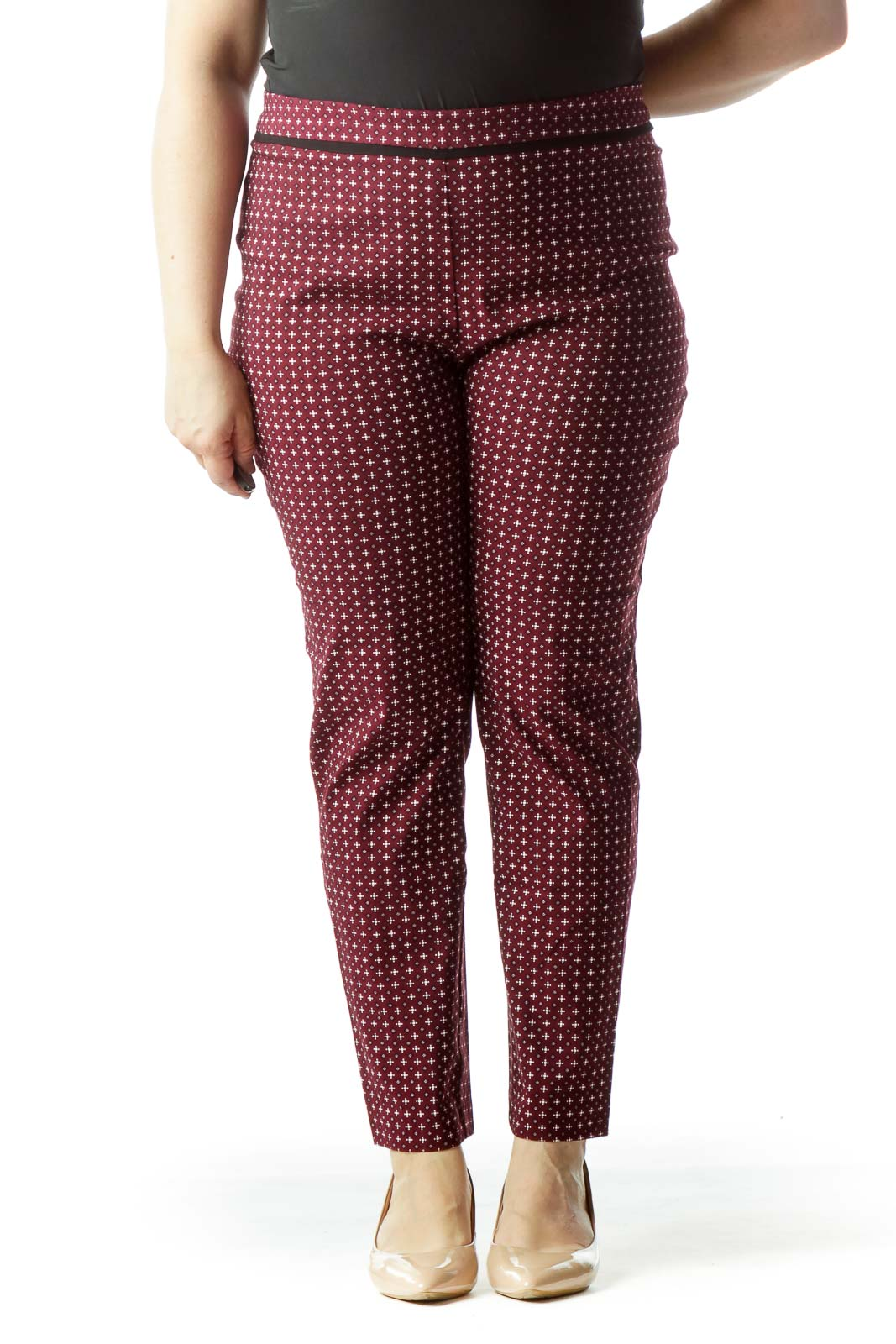Burgundy Black White Print Stretch Pants Front