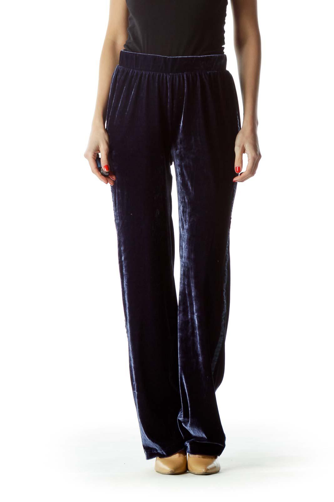 Navy Blue Velvet Elastic Pants Front