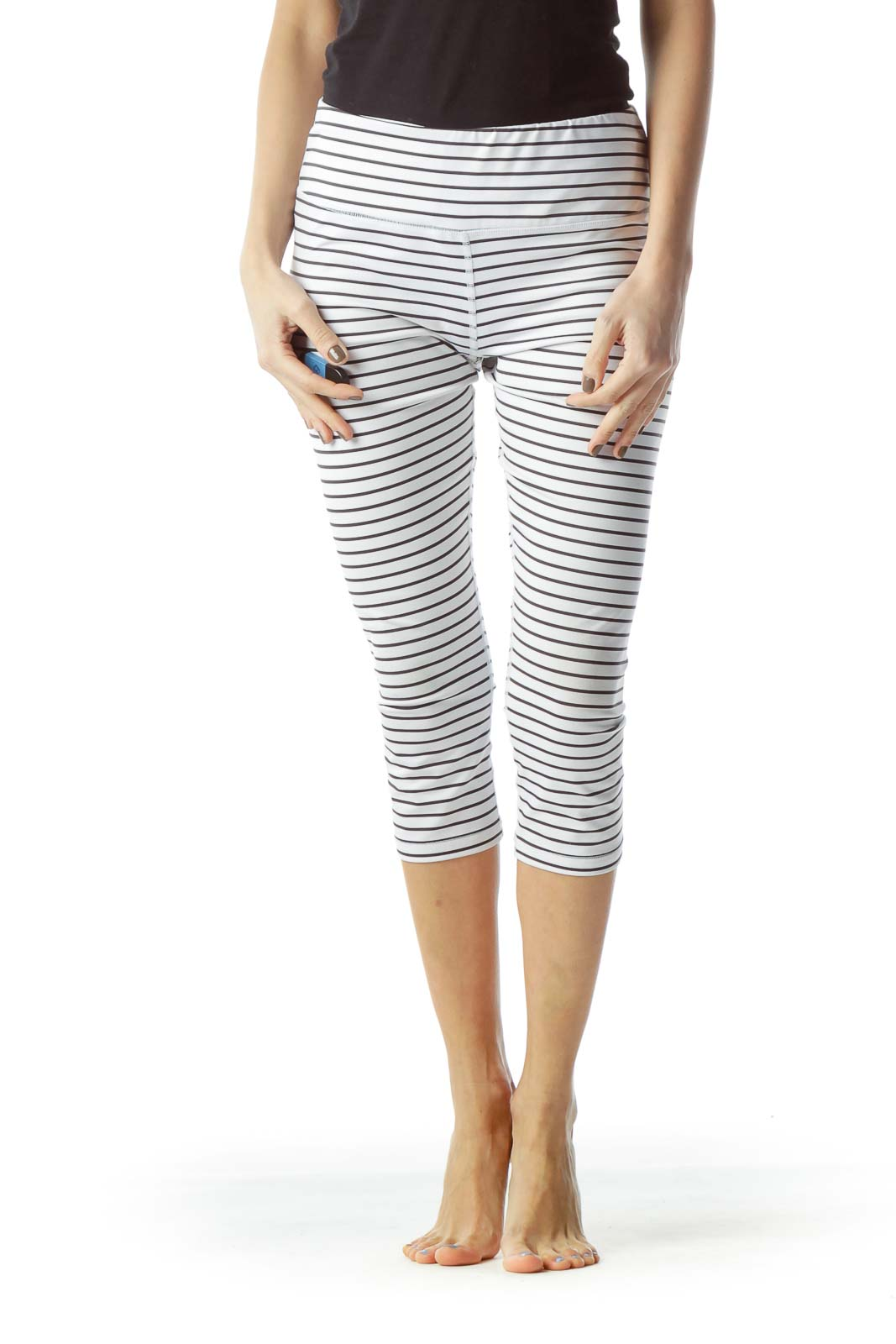 Black White Striped Cropped Sports Pants Front