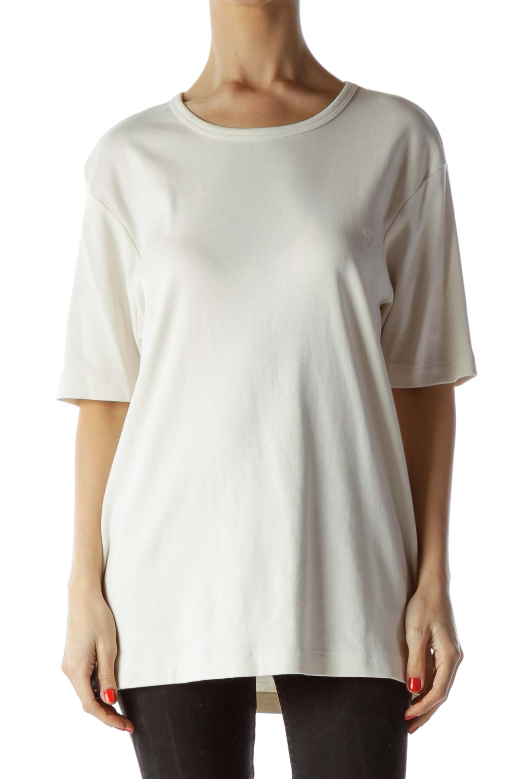 Cream Round Neck Short Sleeve Knit Top Front