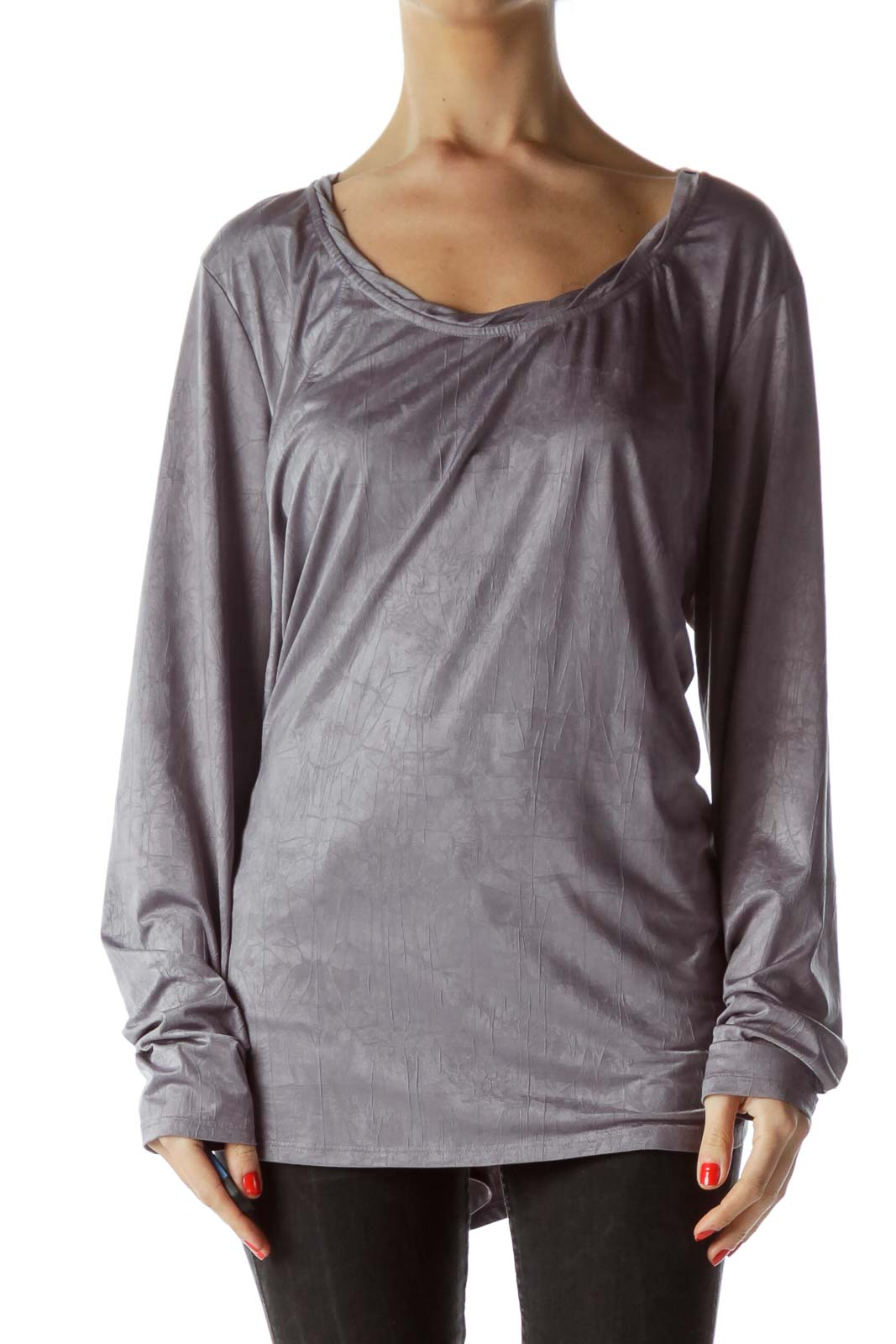 Gray Long Sleeve Flared Textured Blouse Front