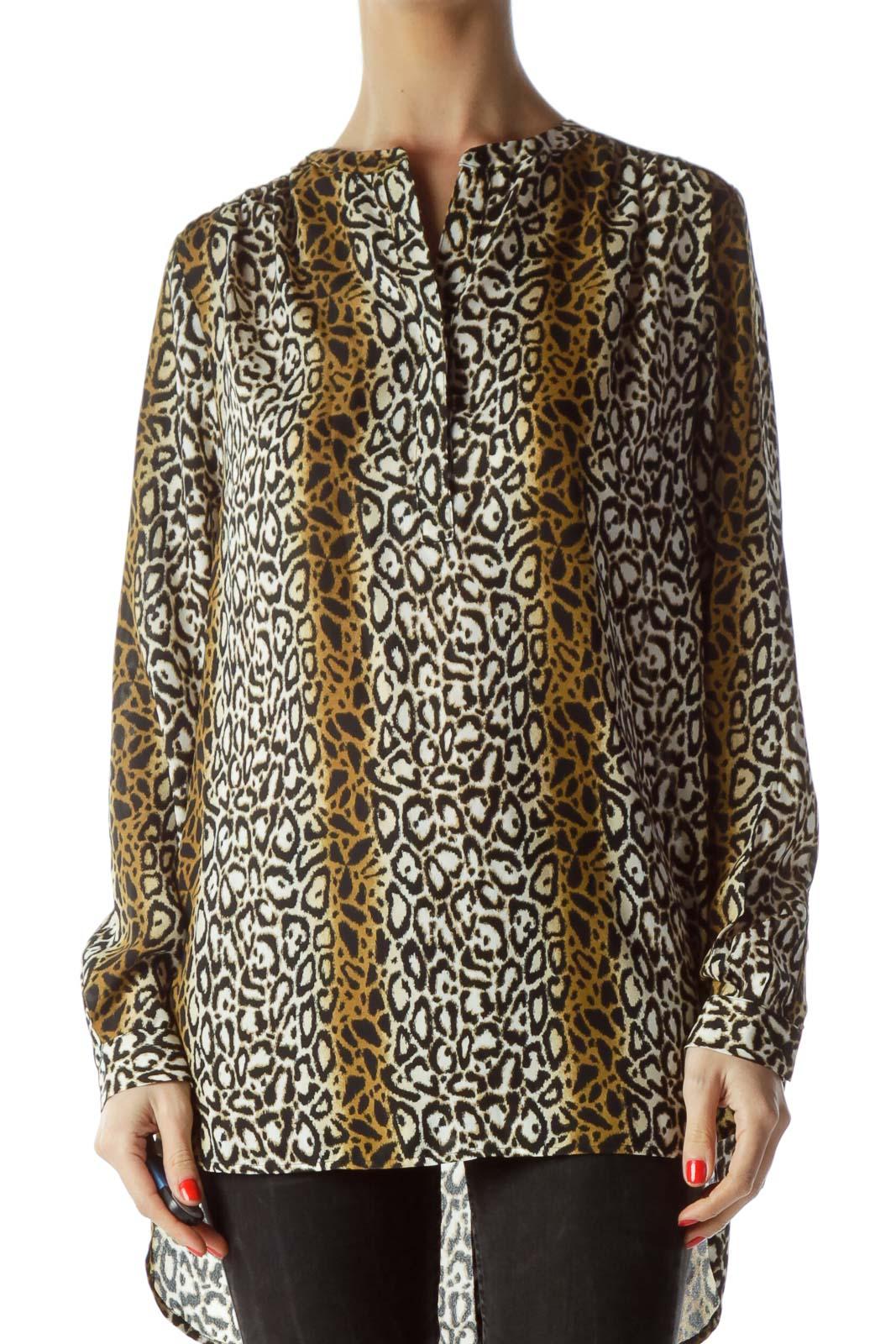 Black Brown Cream Animal Print Shift Shirt Front
