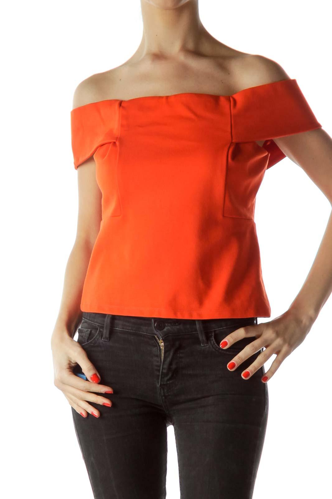 Orange Cold-Shoulder Short Top Front