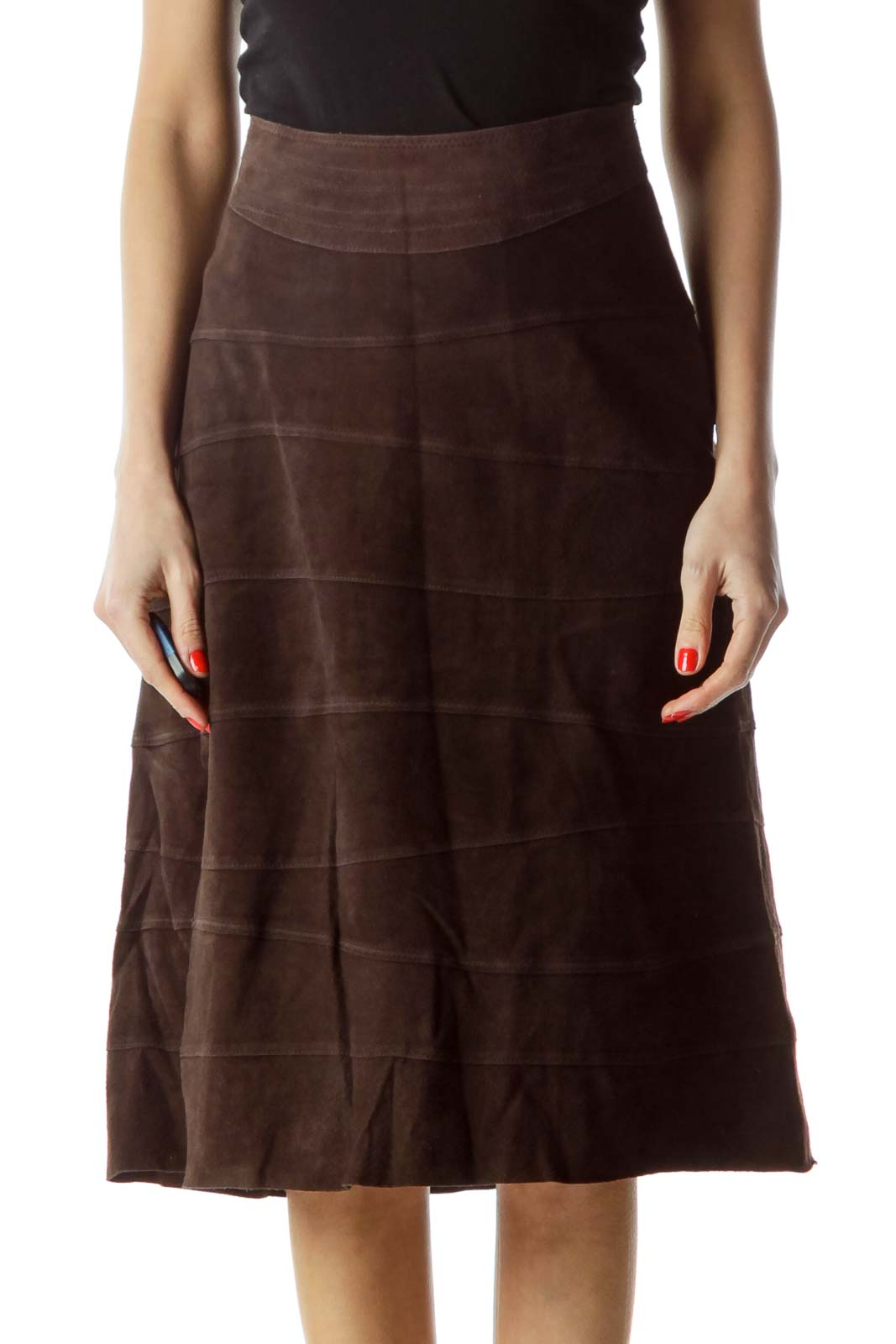 Brown Flared Leather Skirt with Slip Front