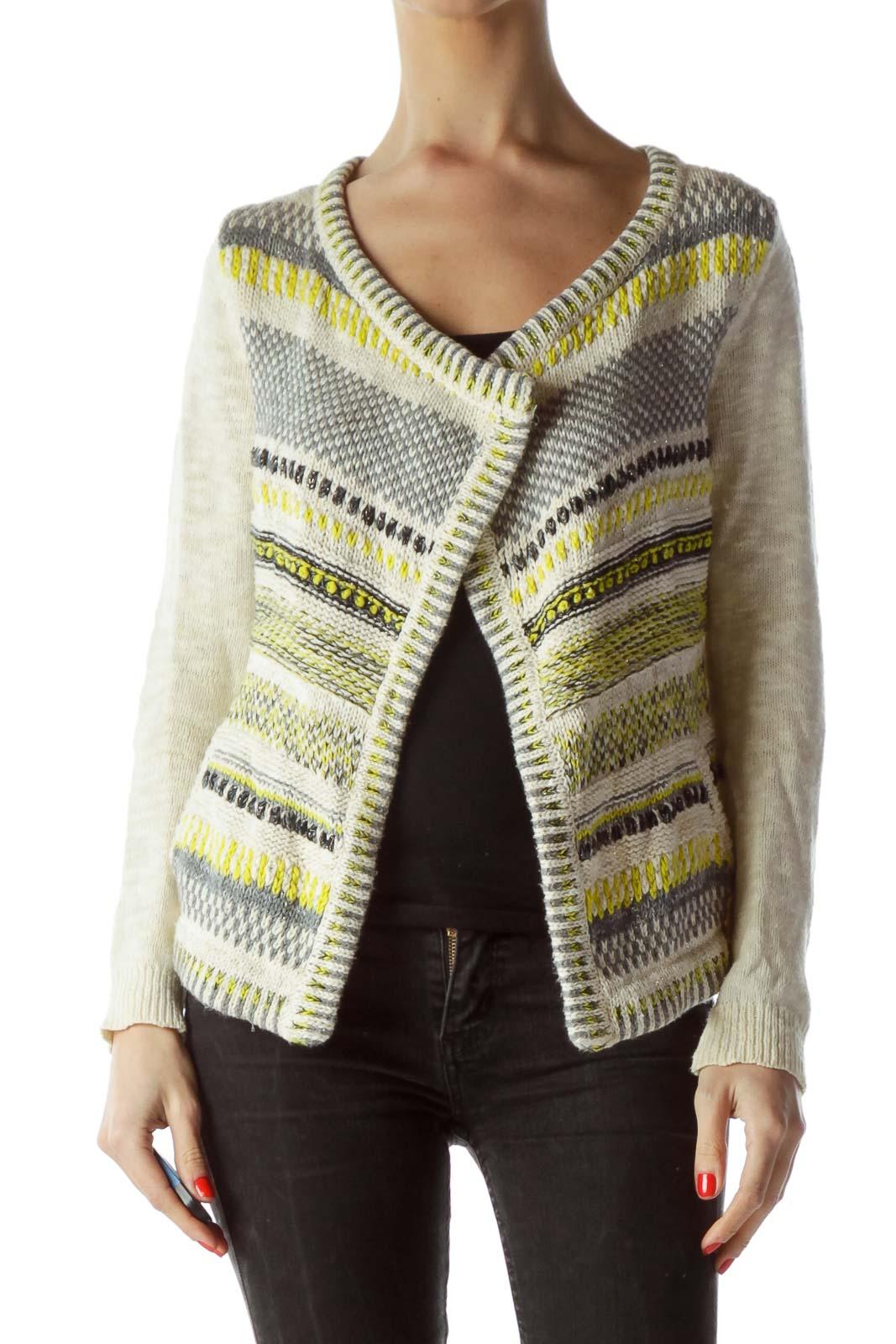 Cream Gray Yellow Black Metallic Thread Open Sweater Front