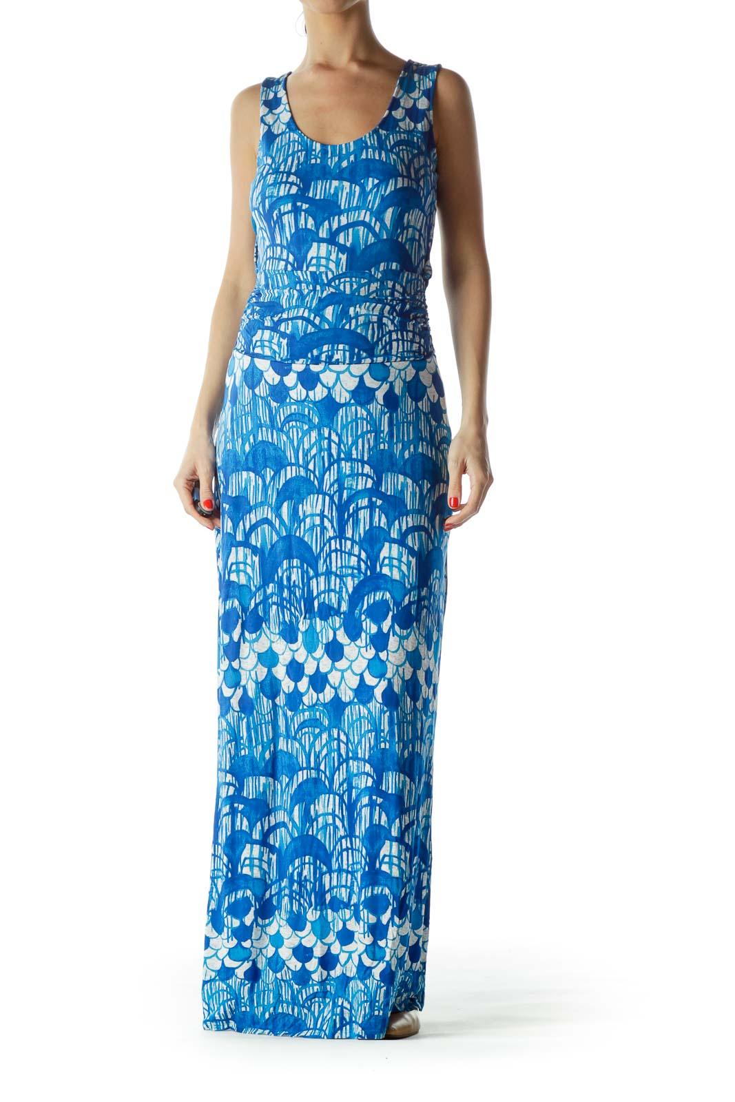 Blue Print Maxi Dress Front