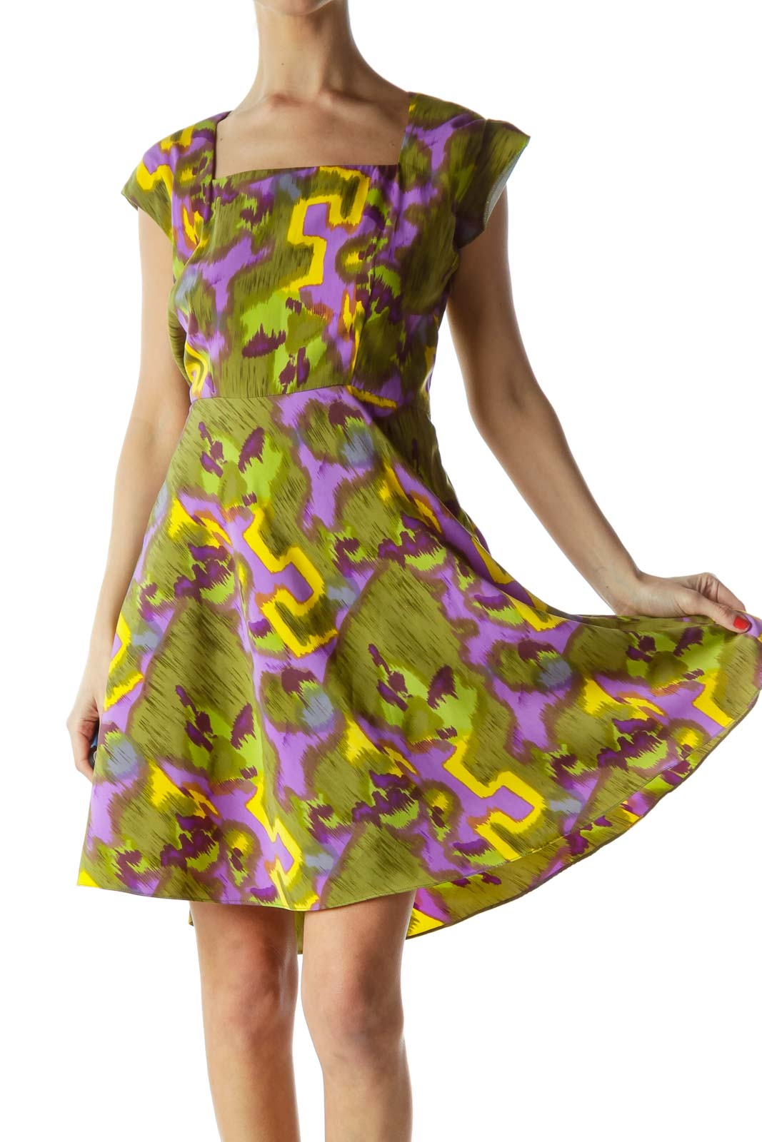 Green Patterned Flare Dress Front