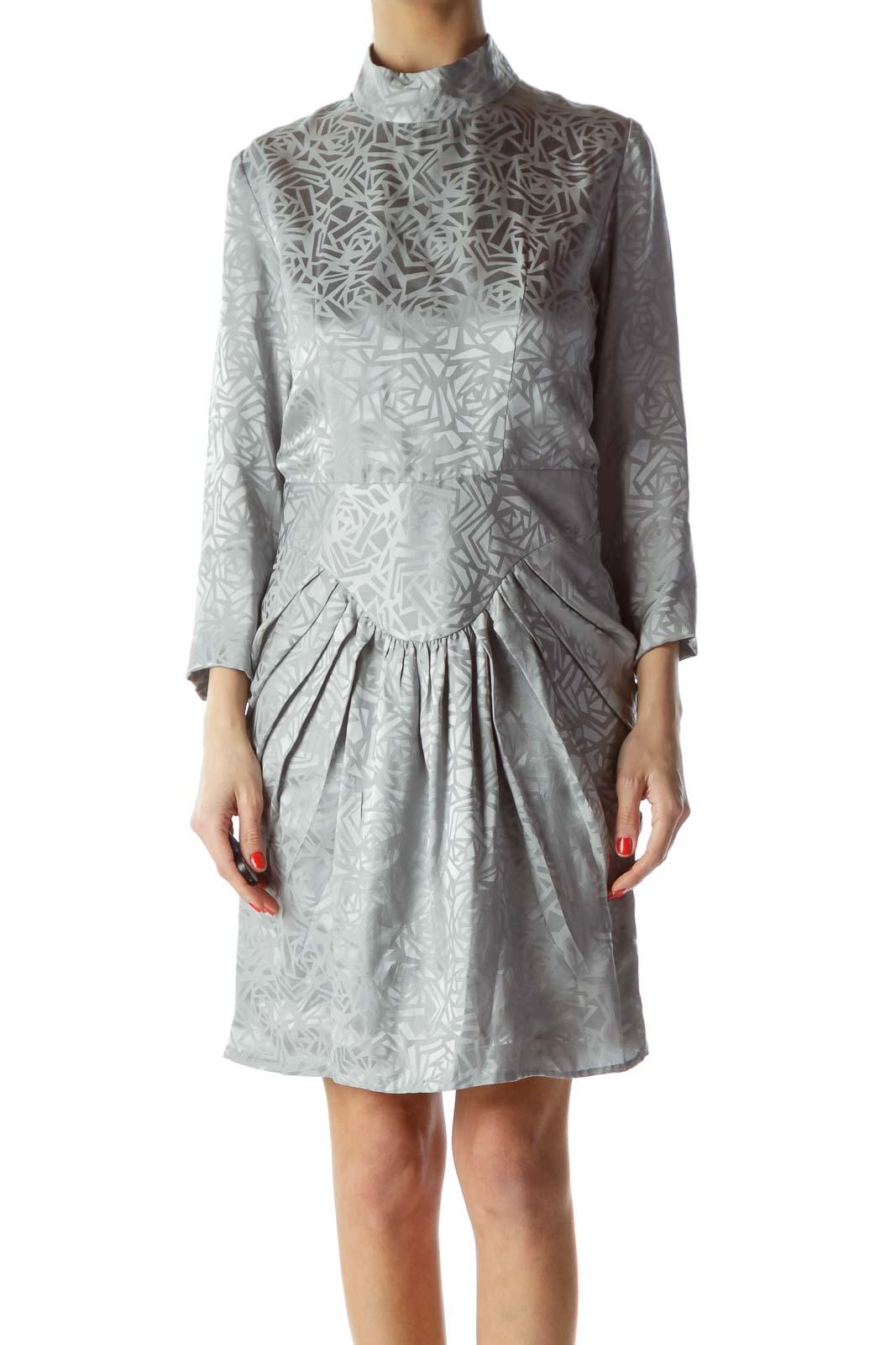 Silver Shiny Geometric Print Dress Front