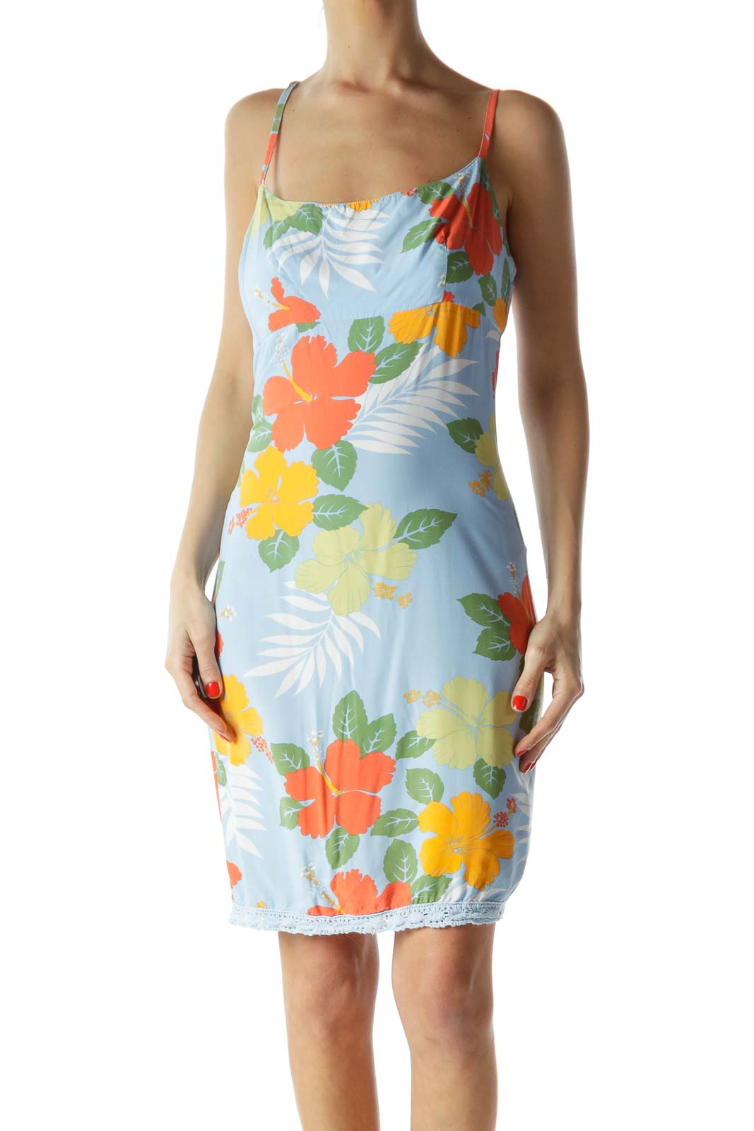 Blue Floral Print Sun Dress Front