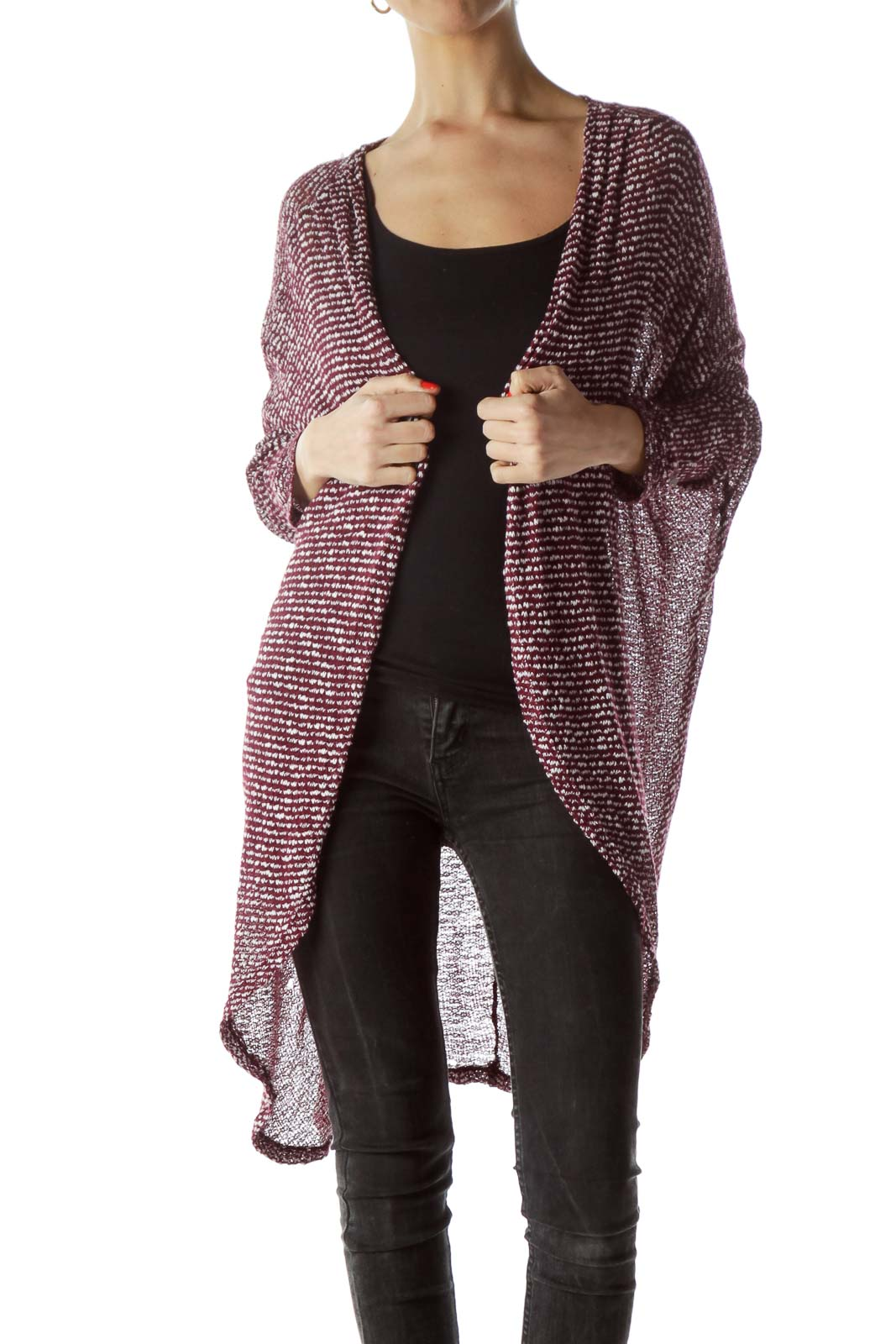 Burgundy White Textured Knitted Cardigan Front