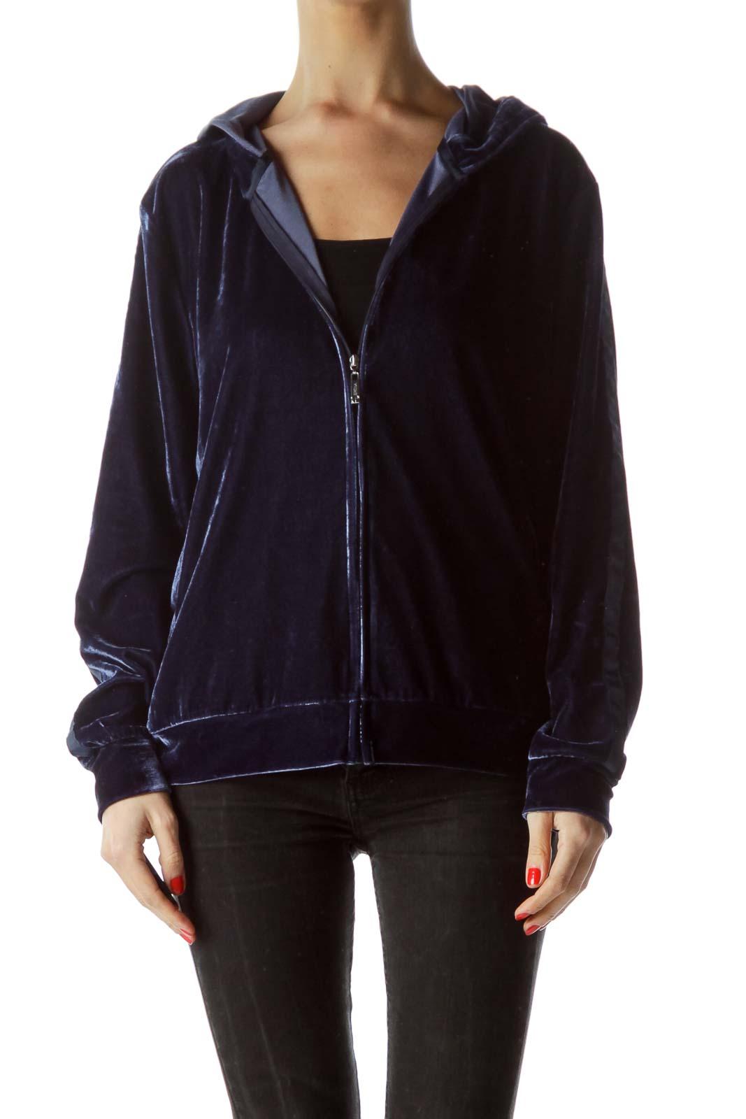 Blue Velvet Zippered Hooded Track Jacket Front
