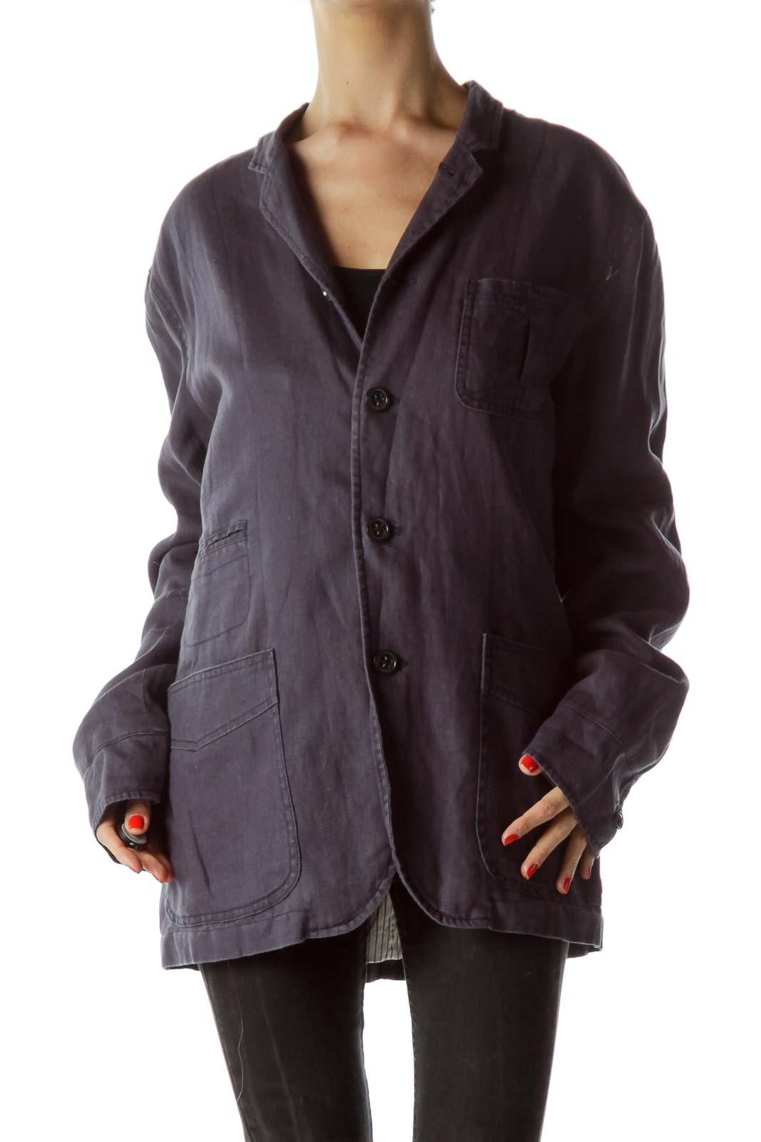 Navy Blue Denim-Feel Pocketed Blazer Front