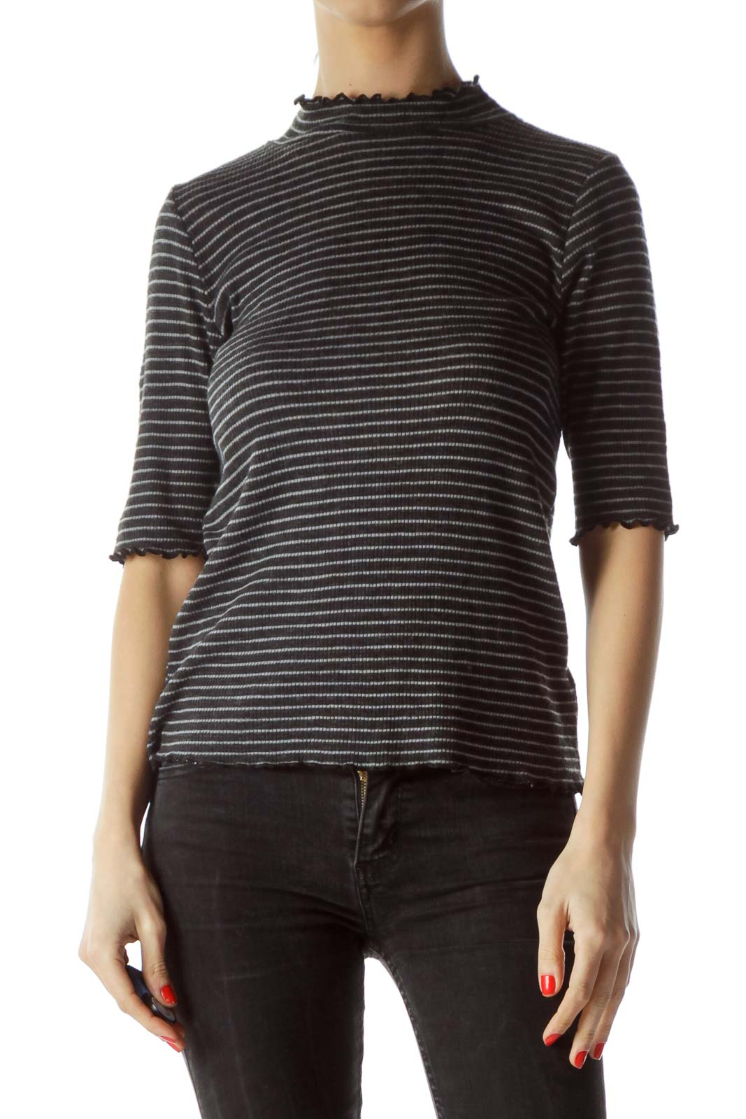 Black Gray Striped 3/4 Sleeve Knit Top Front