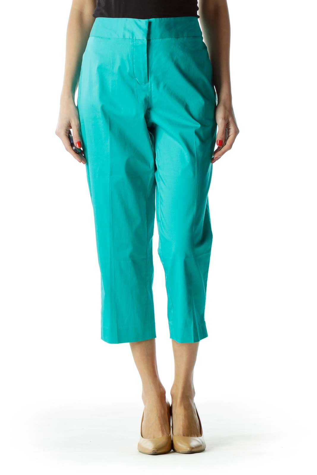 Teal Blue Cropped Pants Front