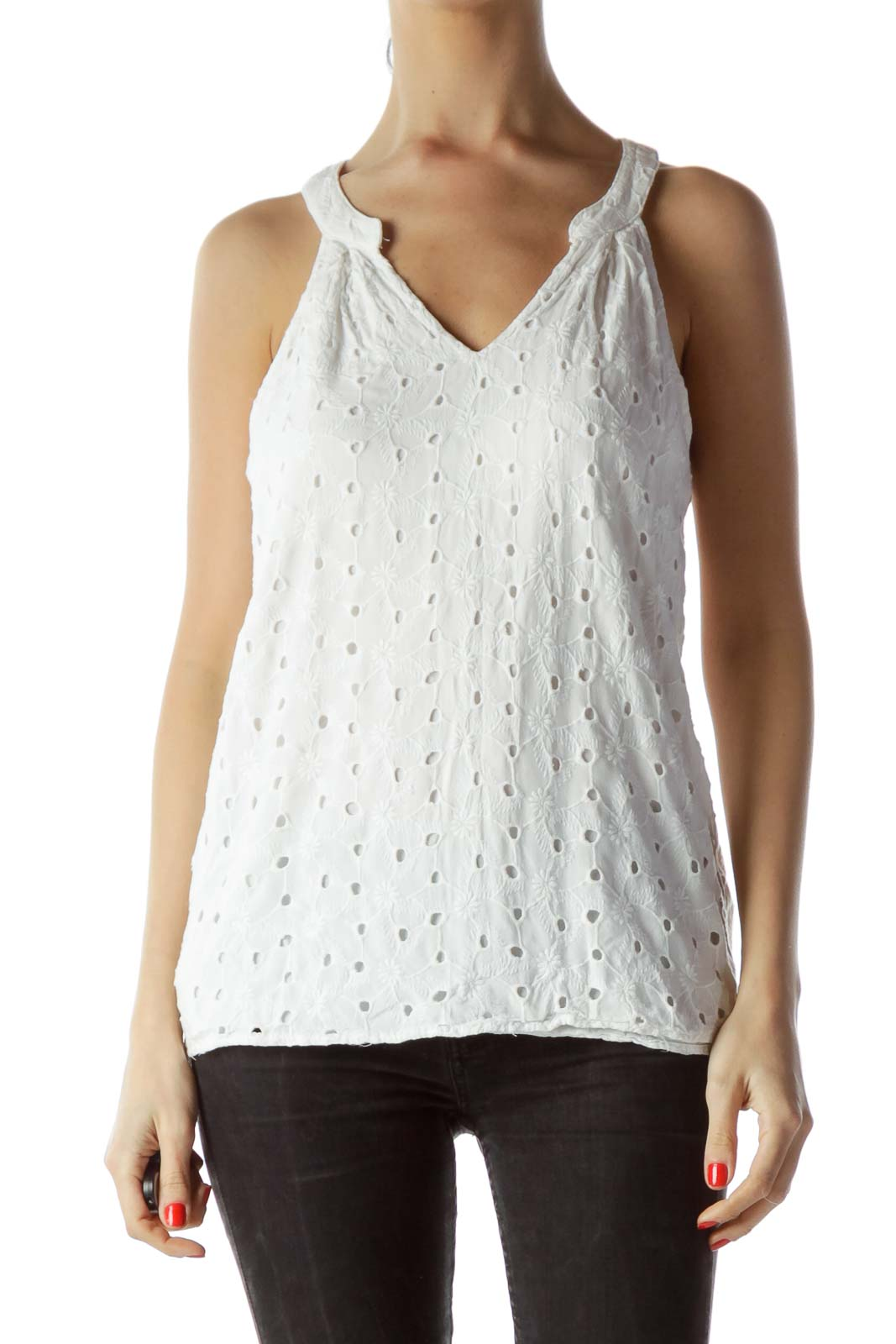 White Sleeveless V-Neck Flared Embroidered Top Front