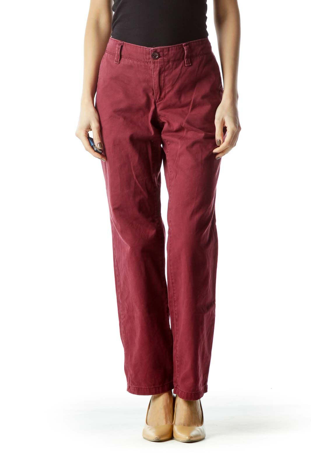 Burgundy 100% Cotton Straight Leg Pants Front