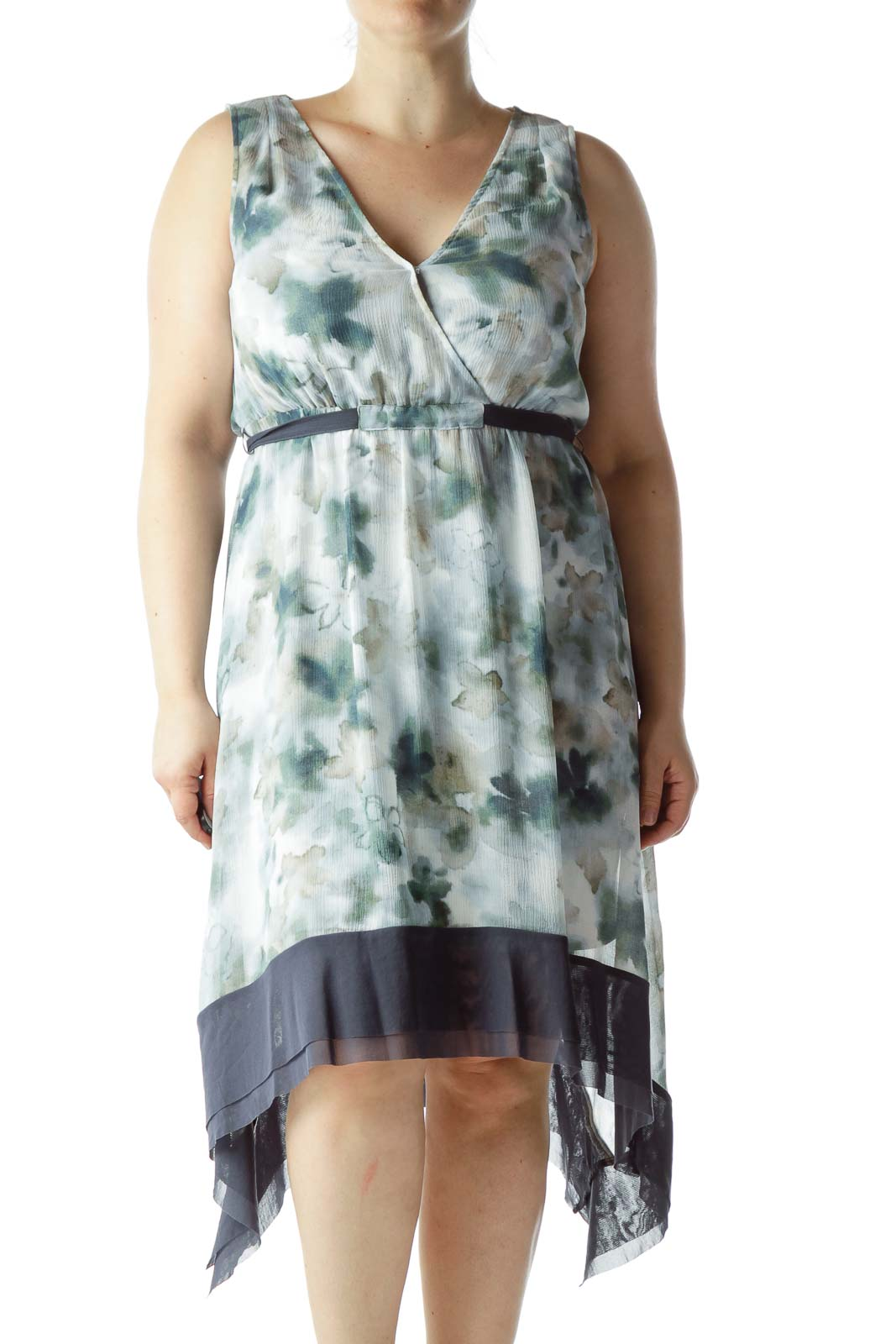 Blue and Green Paint Print Sheer Dress Front