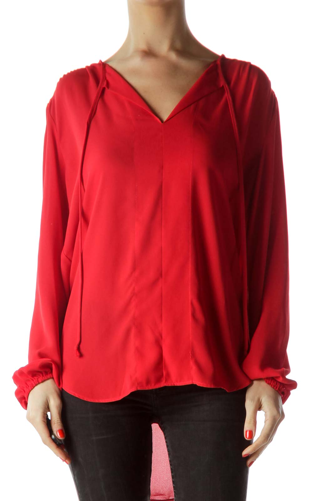 Red V-Neck Long Sleeve Blouse Front
