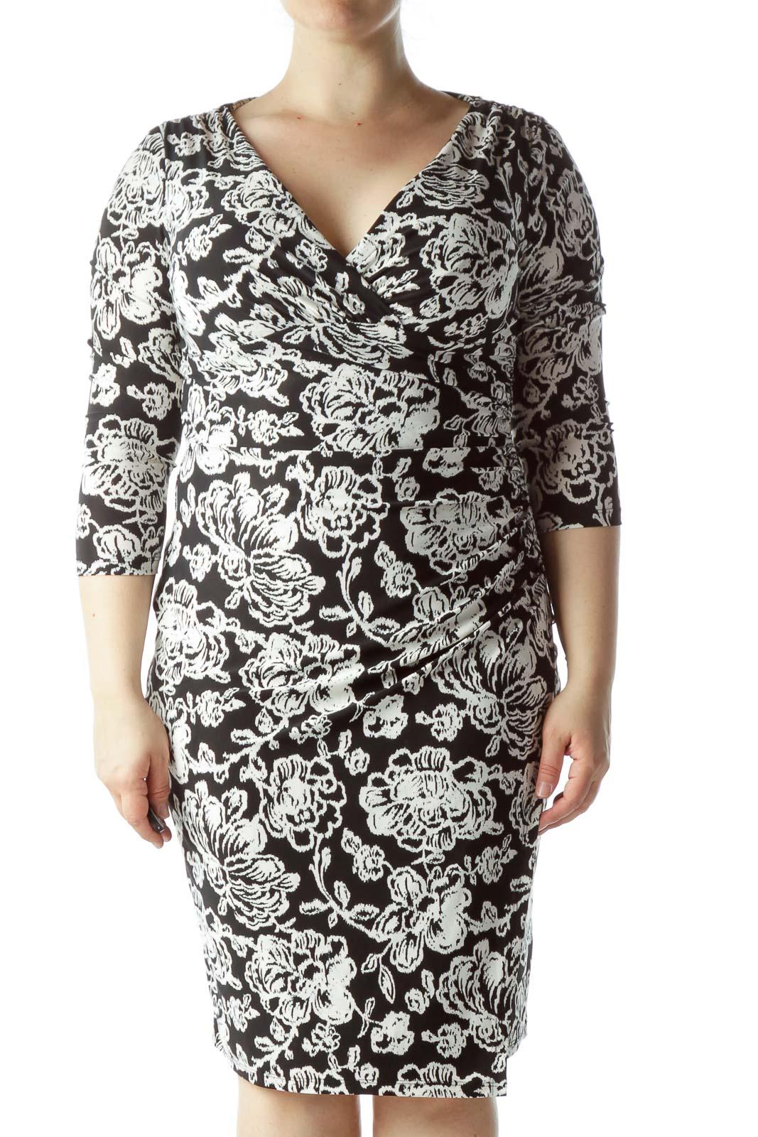 Black Flower Printed Dress Front