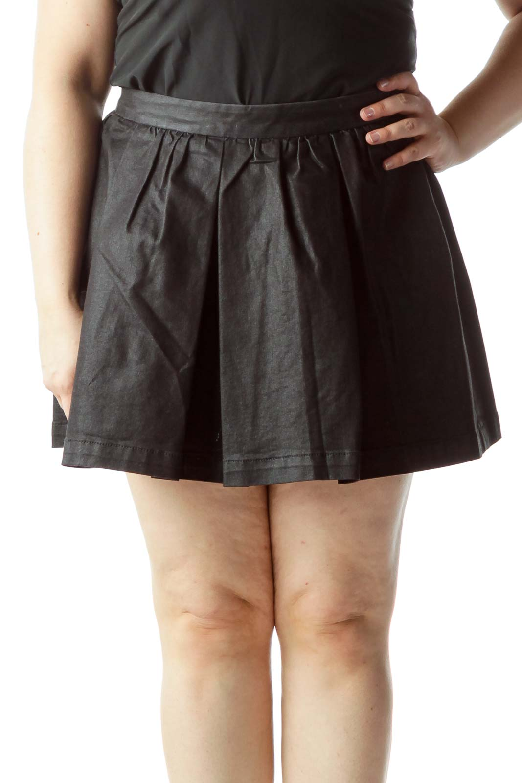 Black Pleated Flared Skirt Front
