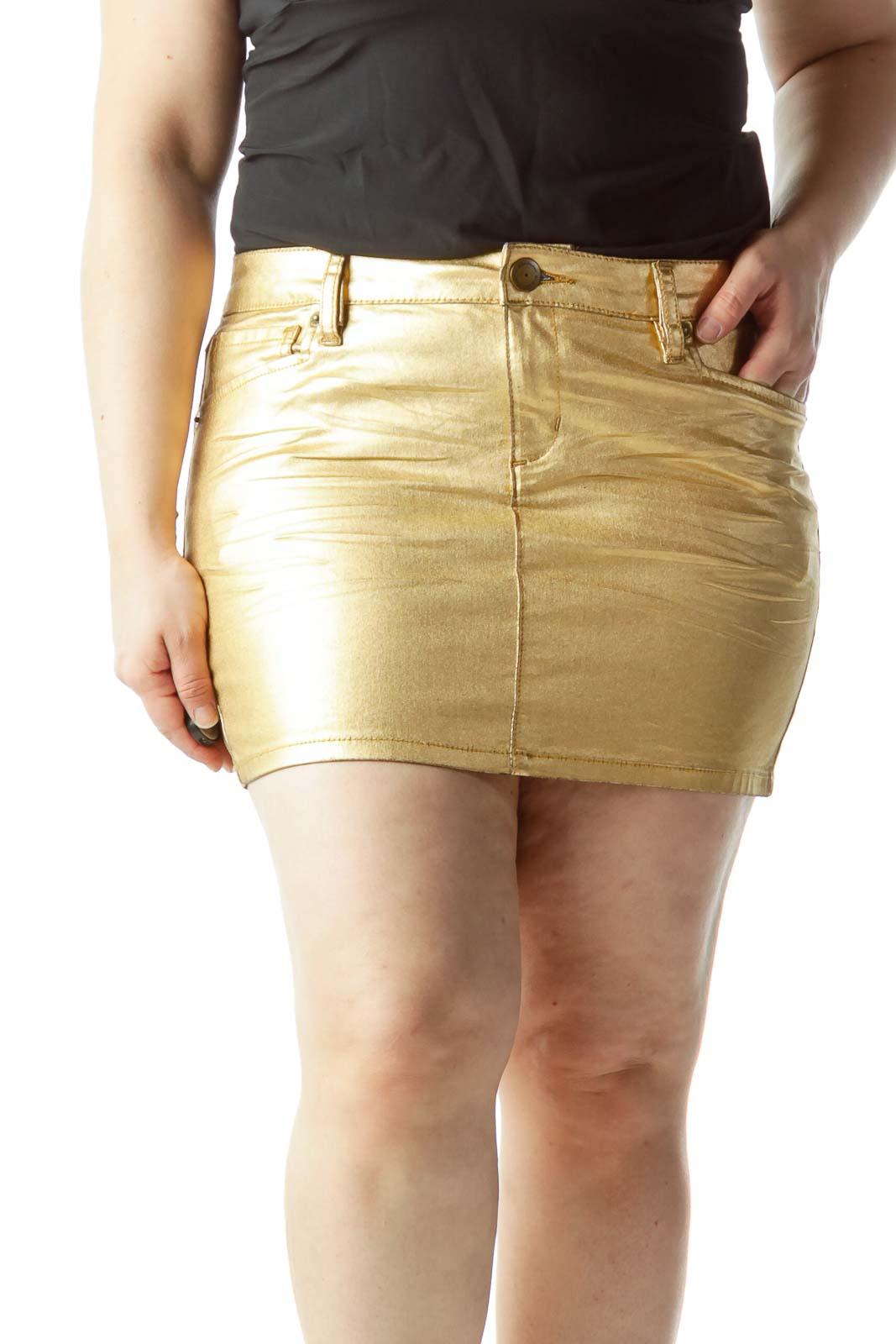 Gold Metallic Pocketed Mini Skirt Front
