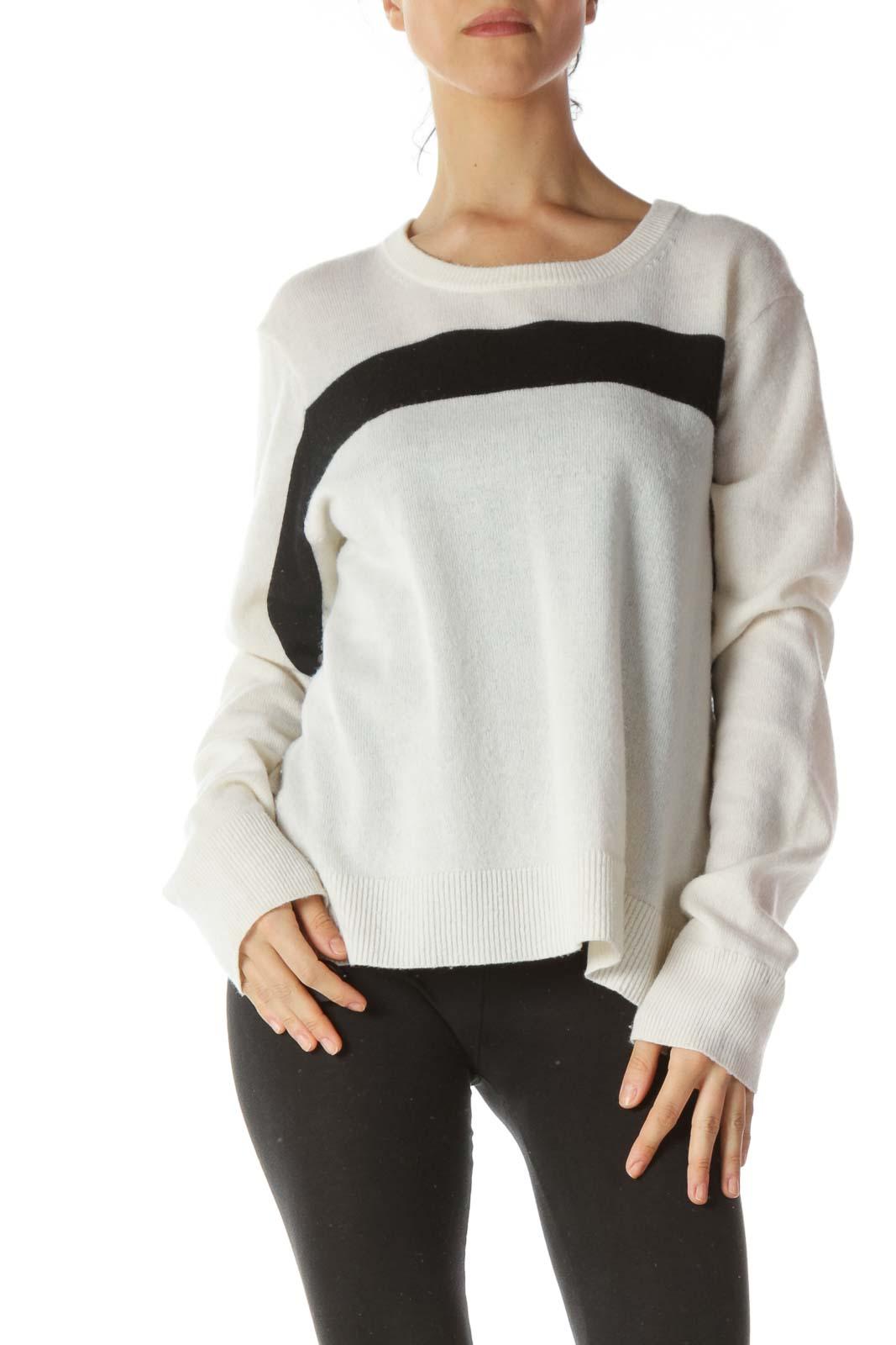 Cream Black Front Stripe 100% Cashmere Sweater Front