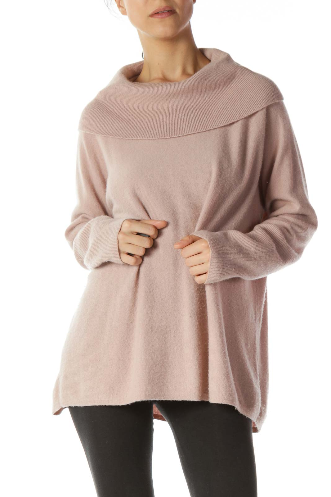Pastel Pink 100% Cashmere Cowl Turtleneck Sweater Front