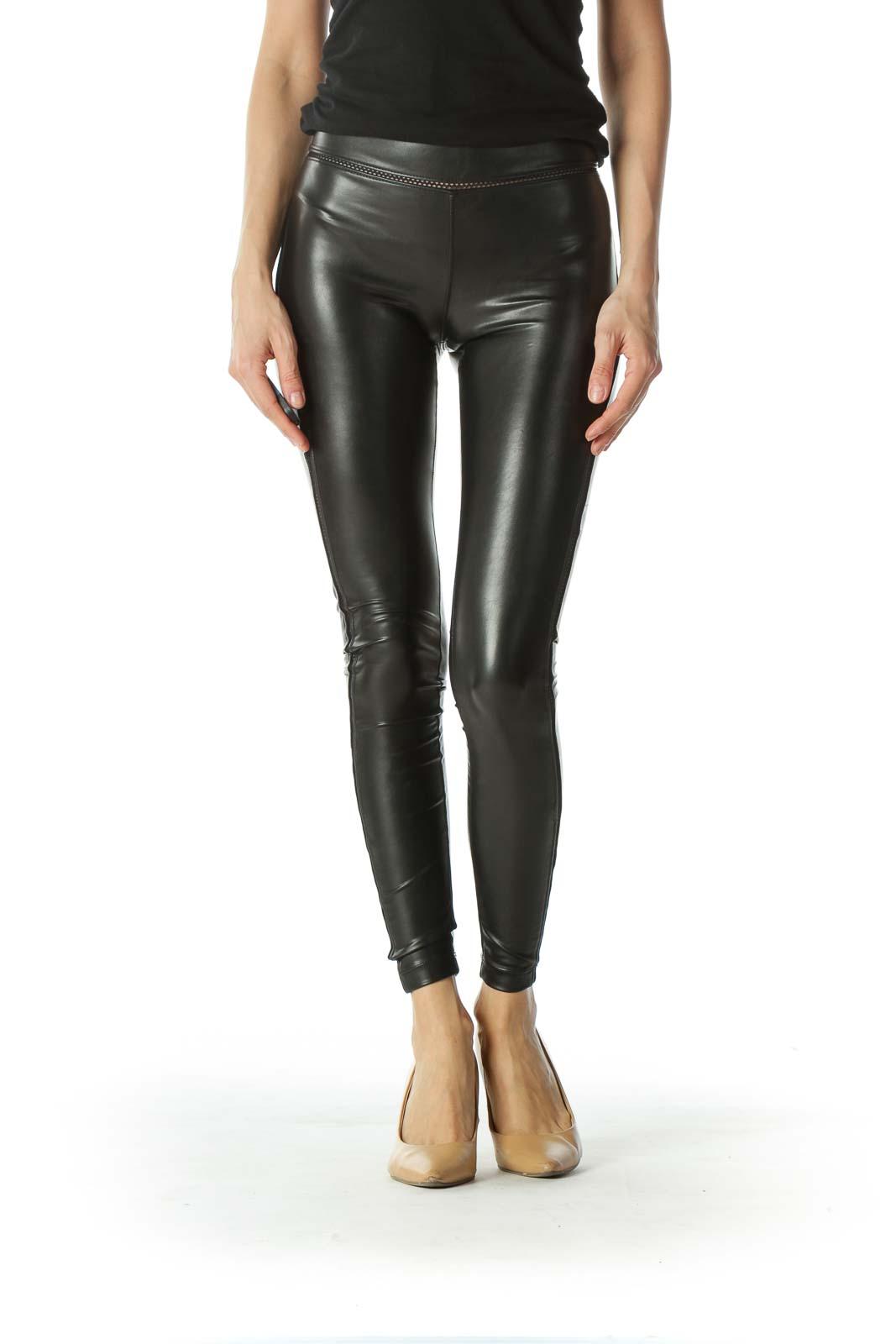 Black Mesh Detailed Leather Legging Front