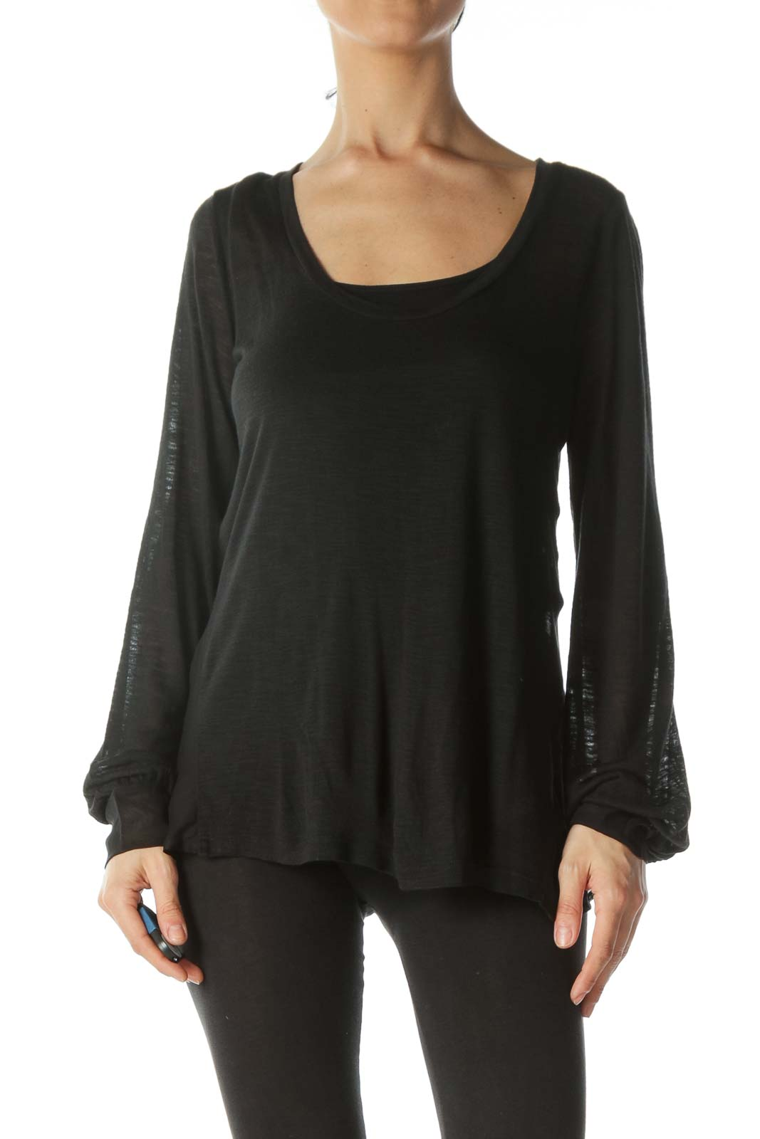 Black Chiffon-Bow Open-Back Thin See-Through Top Front