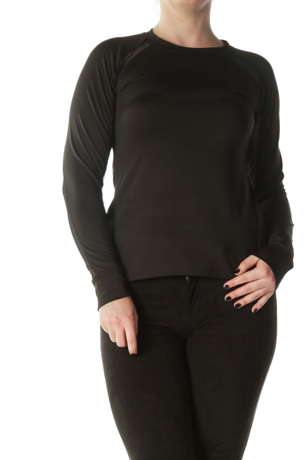 Black Mesh Arm Detail Long Sleeve Sports Top Front