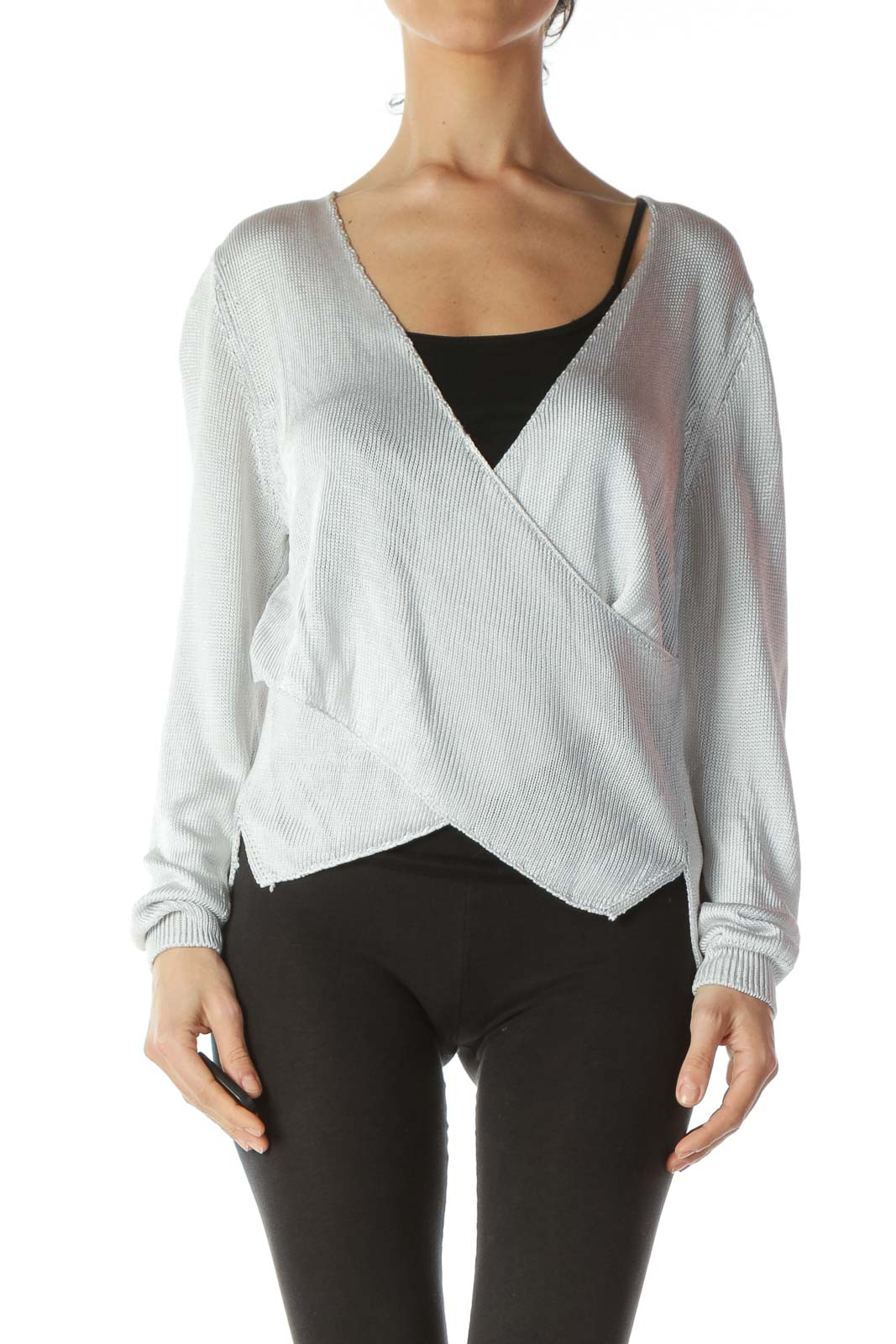 Silver V-Neck Wrap See-Through Knit Top Front