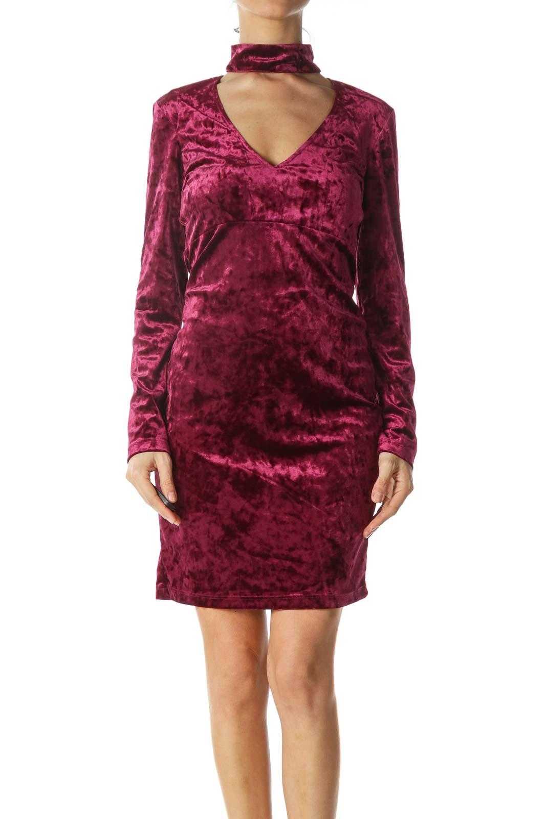 Purple Velvet Long Sleeve Sexy Dress Front