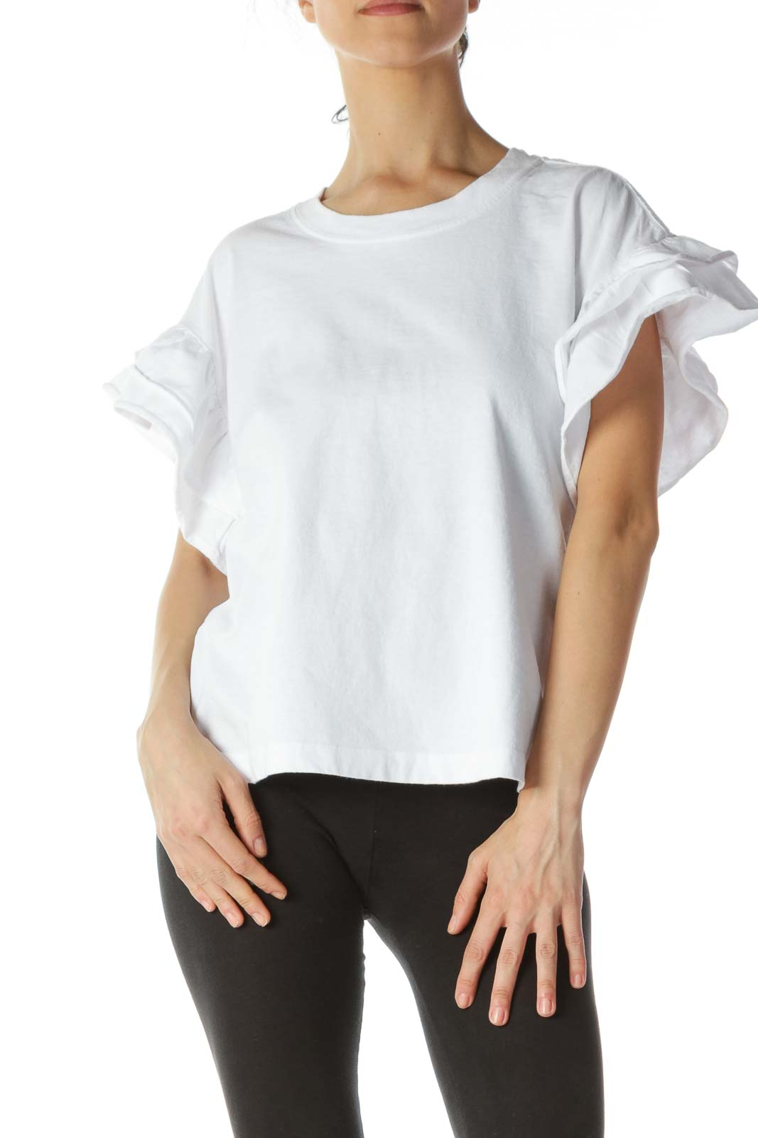 White 100% Cotton Short-Flared-Sleeves T-Shirt Front
