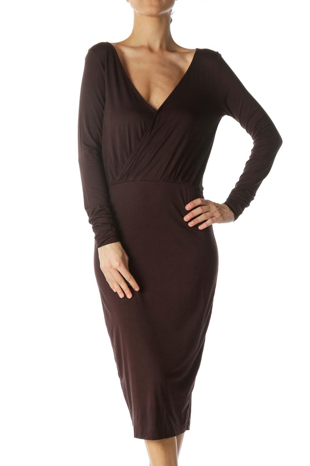 Dark Brown V-Neck Dress  Front