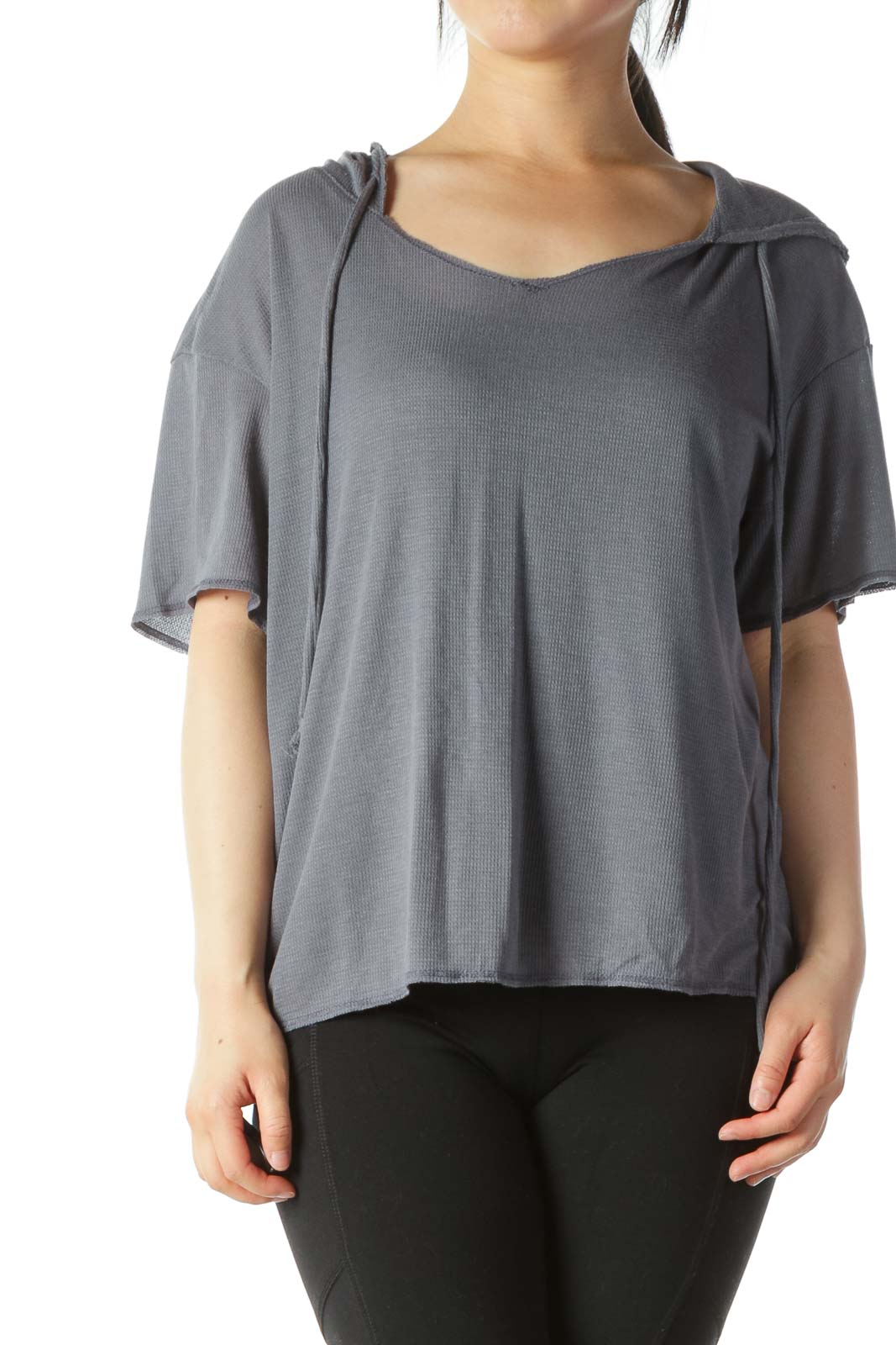 Gray Hooded Short-Sleeve Light Knit Top Front